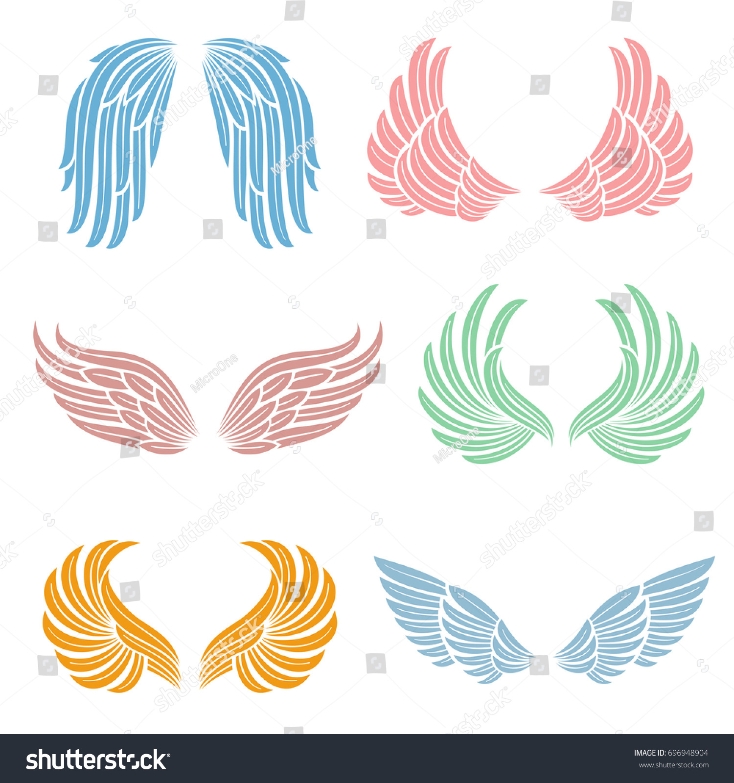 Elegant angel wings long feather angelic stock vector 696948904 elegant angel wings with long feather angelic symbols isolated vector set color angel wing biocorpaavc