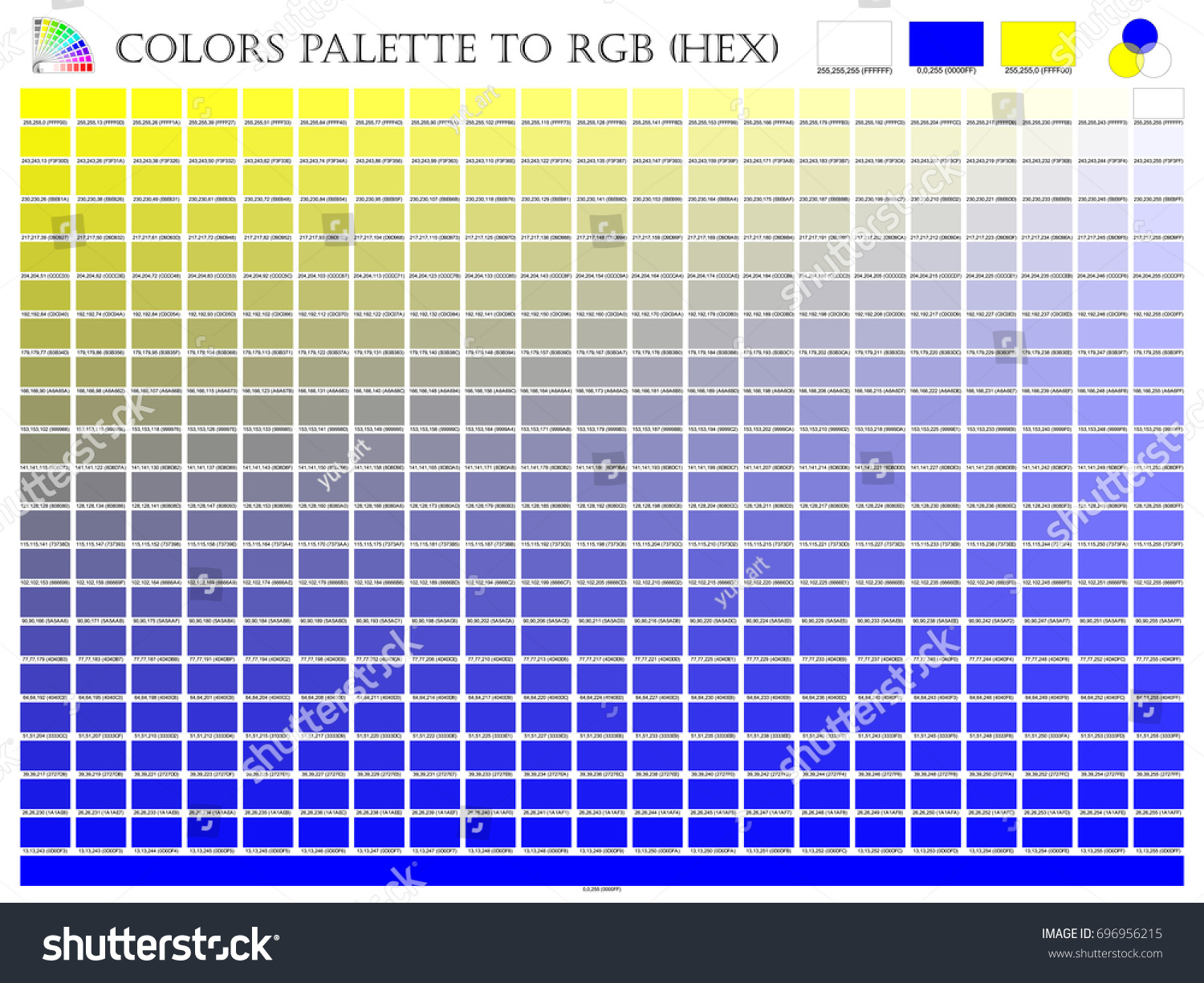Color palette mixer 3 color yellow stock vector 696956215 color palette mixer 3 color yellow white and blue rgb mode in composition nvjuhfo Gallery