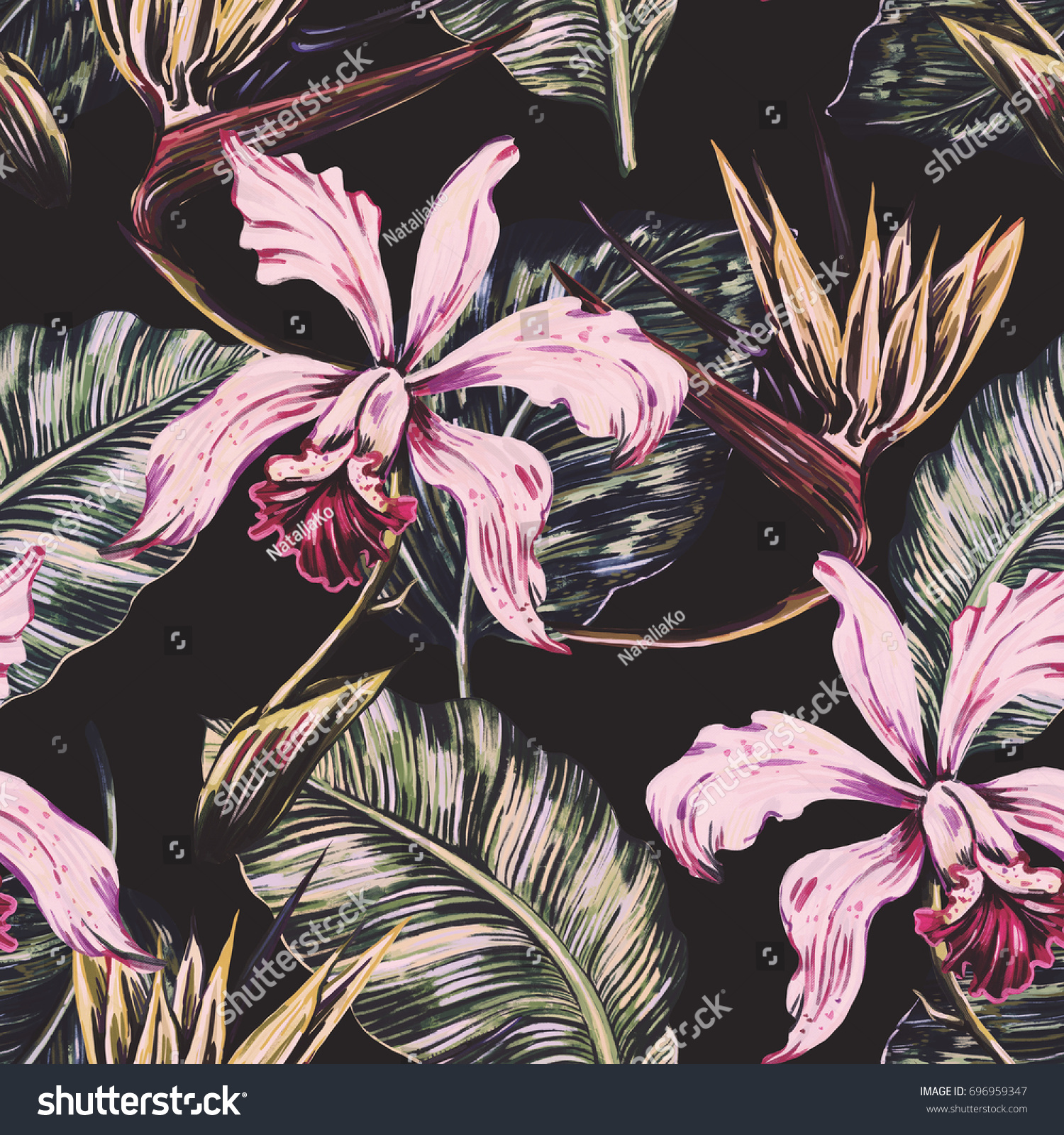 Vintage Seamless Tropical Pattern Background Exotic 696959347