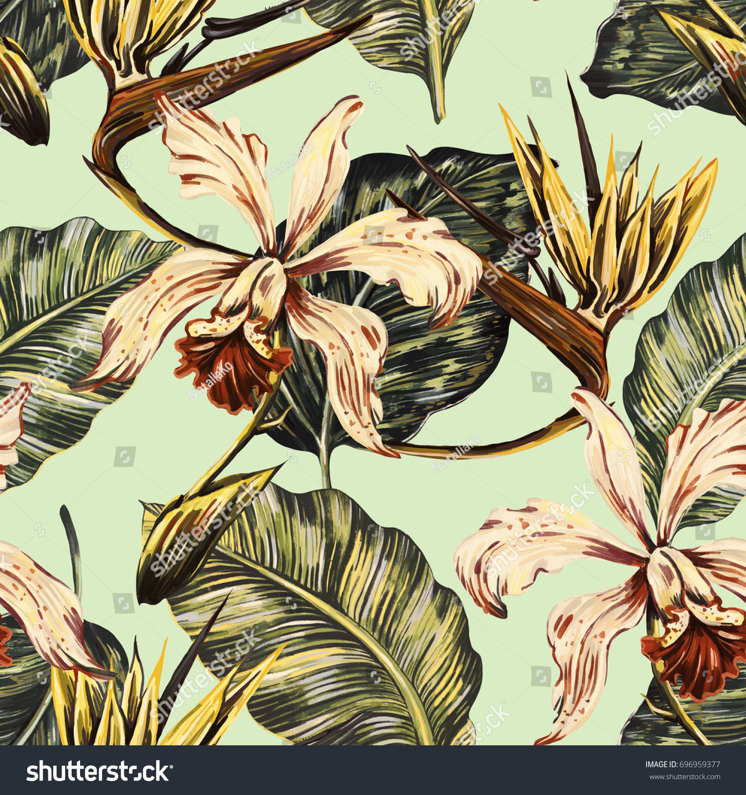 Vintage Style Tropical Bird And Flowers Background: Vintage Seamless Tropical Pattern Background Exotic Stock