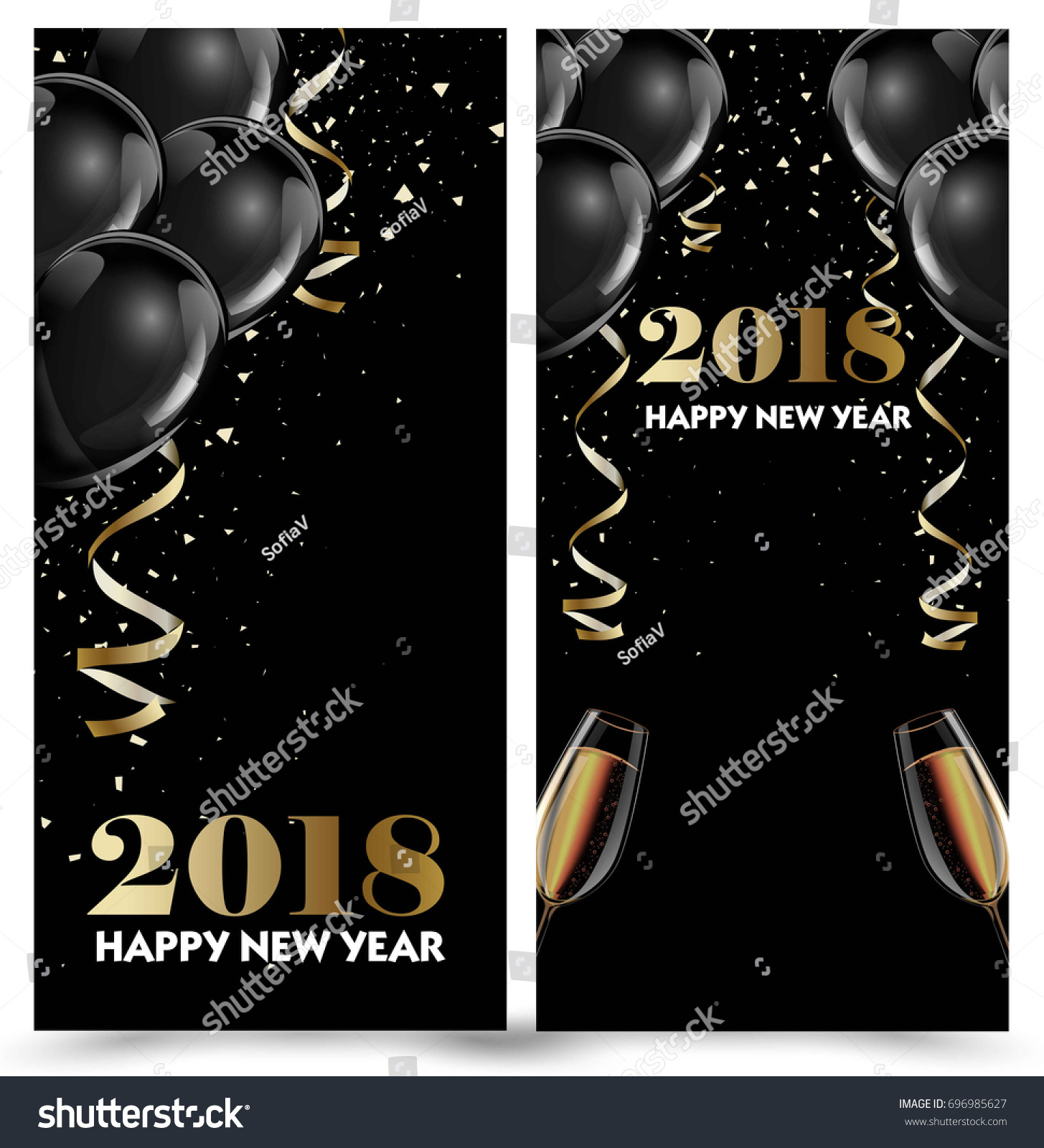 happy new year 2018 greeting card or banner template flyer or invitation design