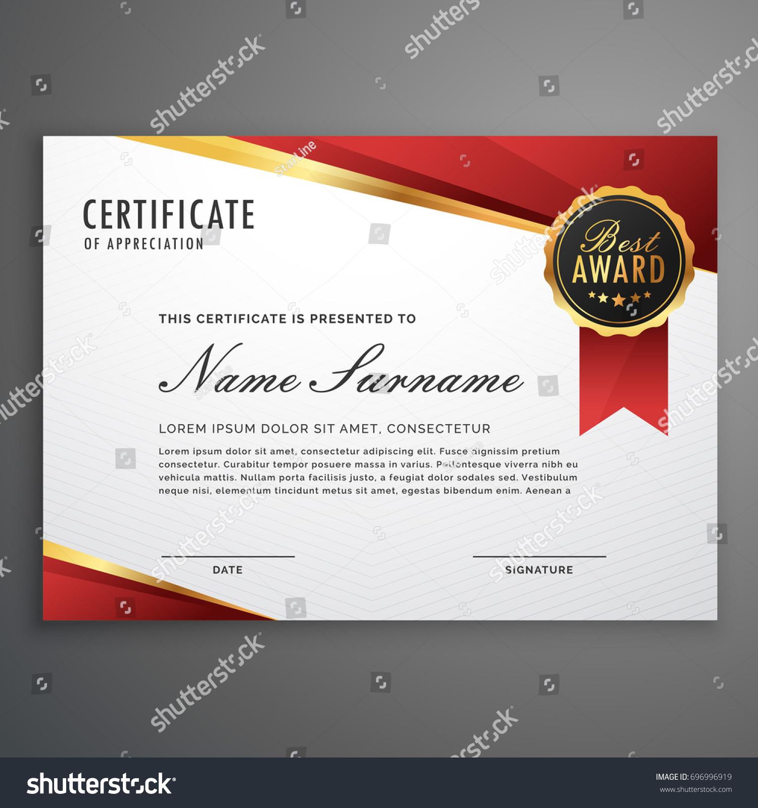 Creative Certificate Appreciation Award Template Red Stock ...
