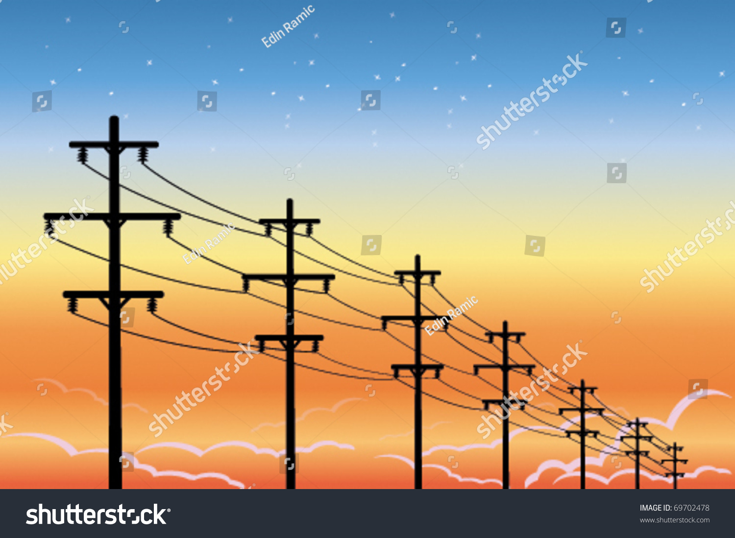 High Voltage Electrical Lines : High voltage power lines stock vector shutterstock