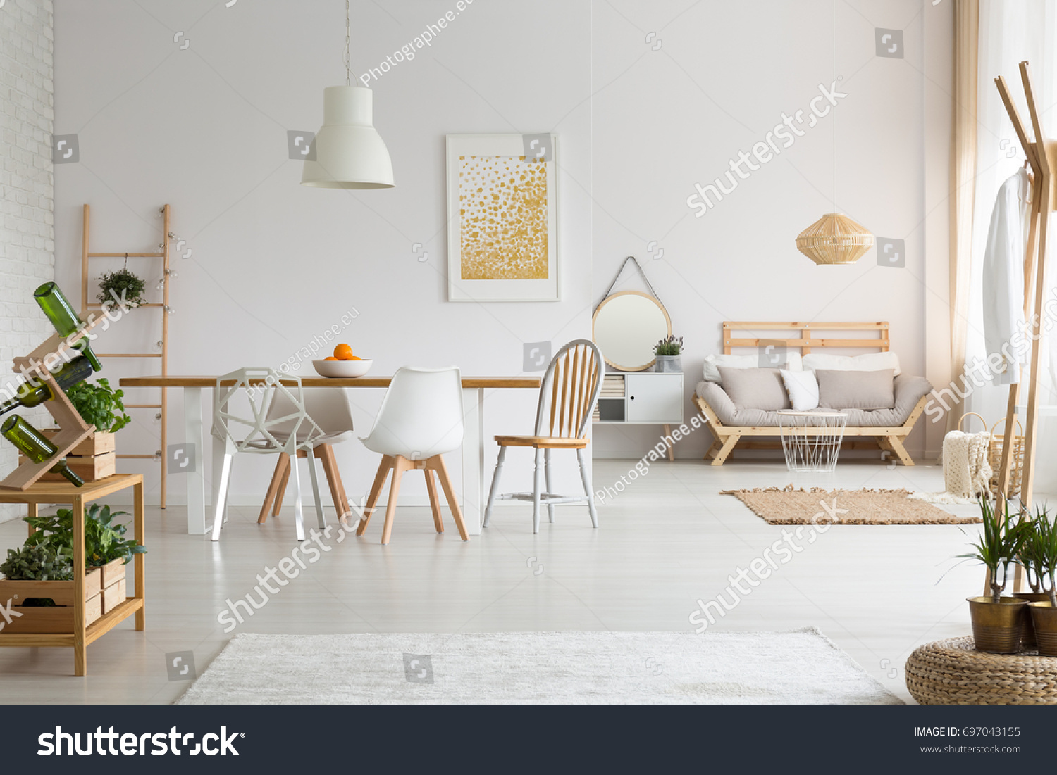 Modern Dining Space Simple Living Room Stock Photo (Safe to Use ...
