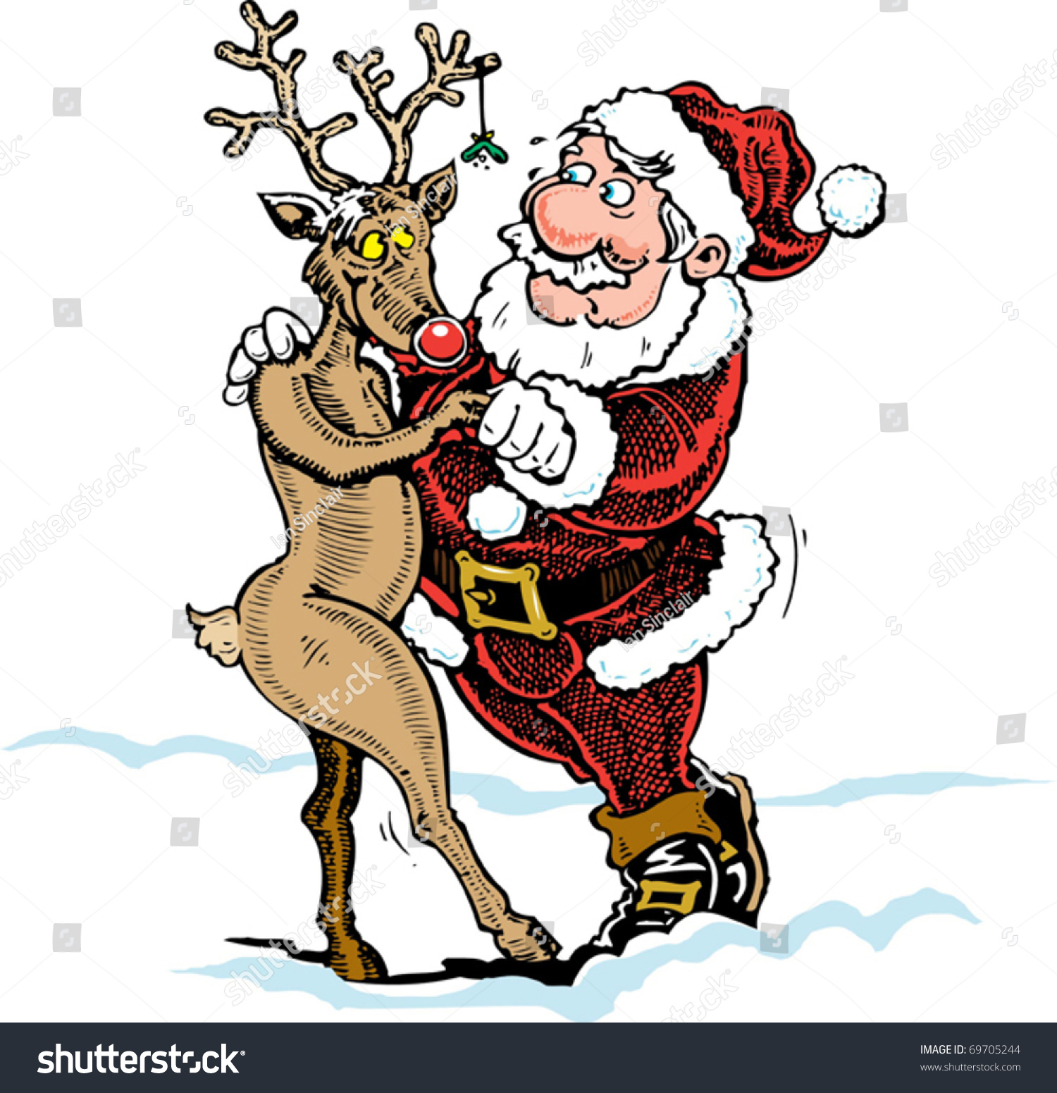 Cartoon Santa Rudolf Reindeer Dancing Snow Stock Vector 69705244 ...