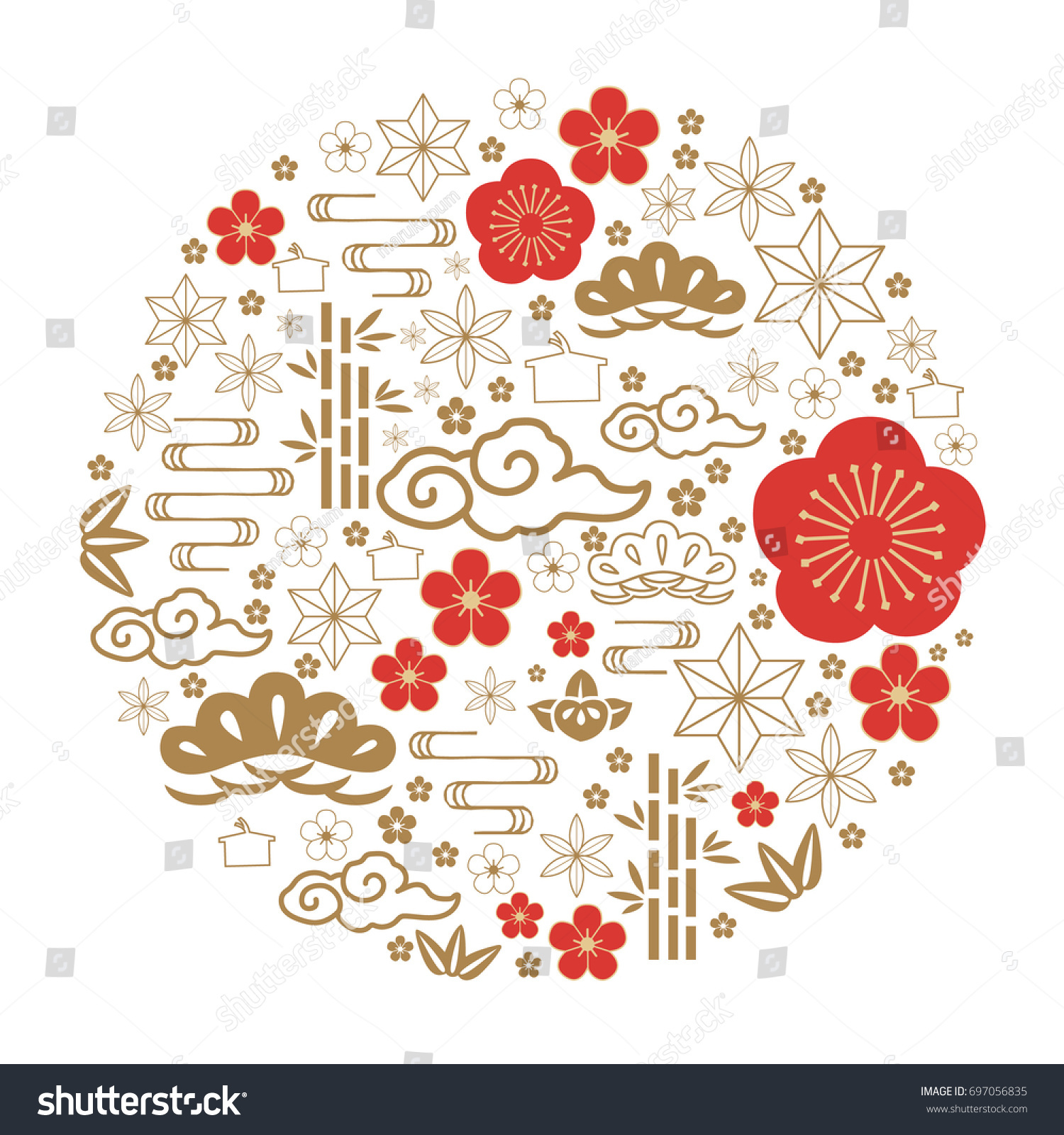 Japanese Icon Vector Red Gold Traditional Stock Vector (Royalty Free ...