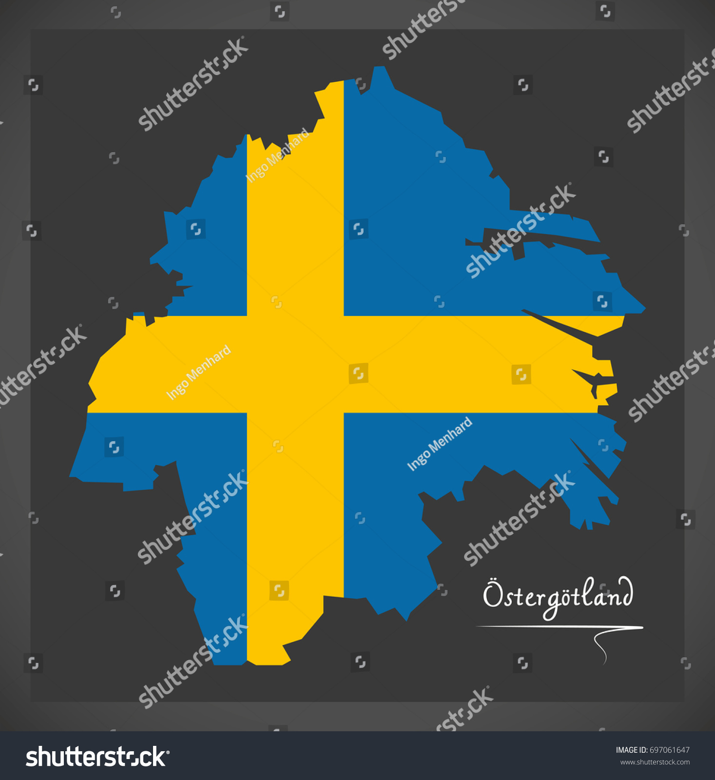 Ostergotland Map Sweden Swedish National Flag Stock Vector Royalty Free 697061647