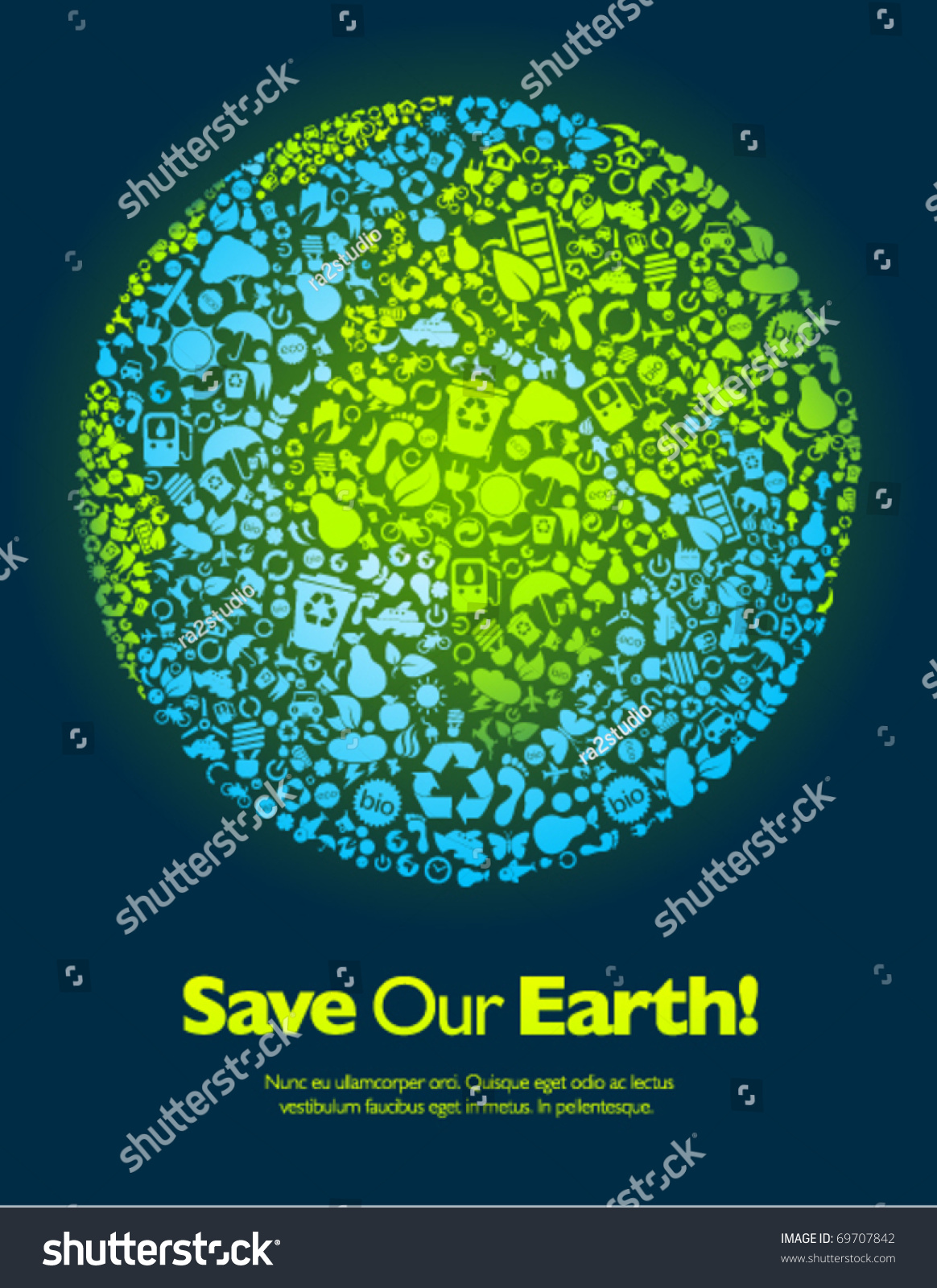 save our earth blue green poster stock vector 69707842