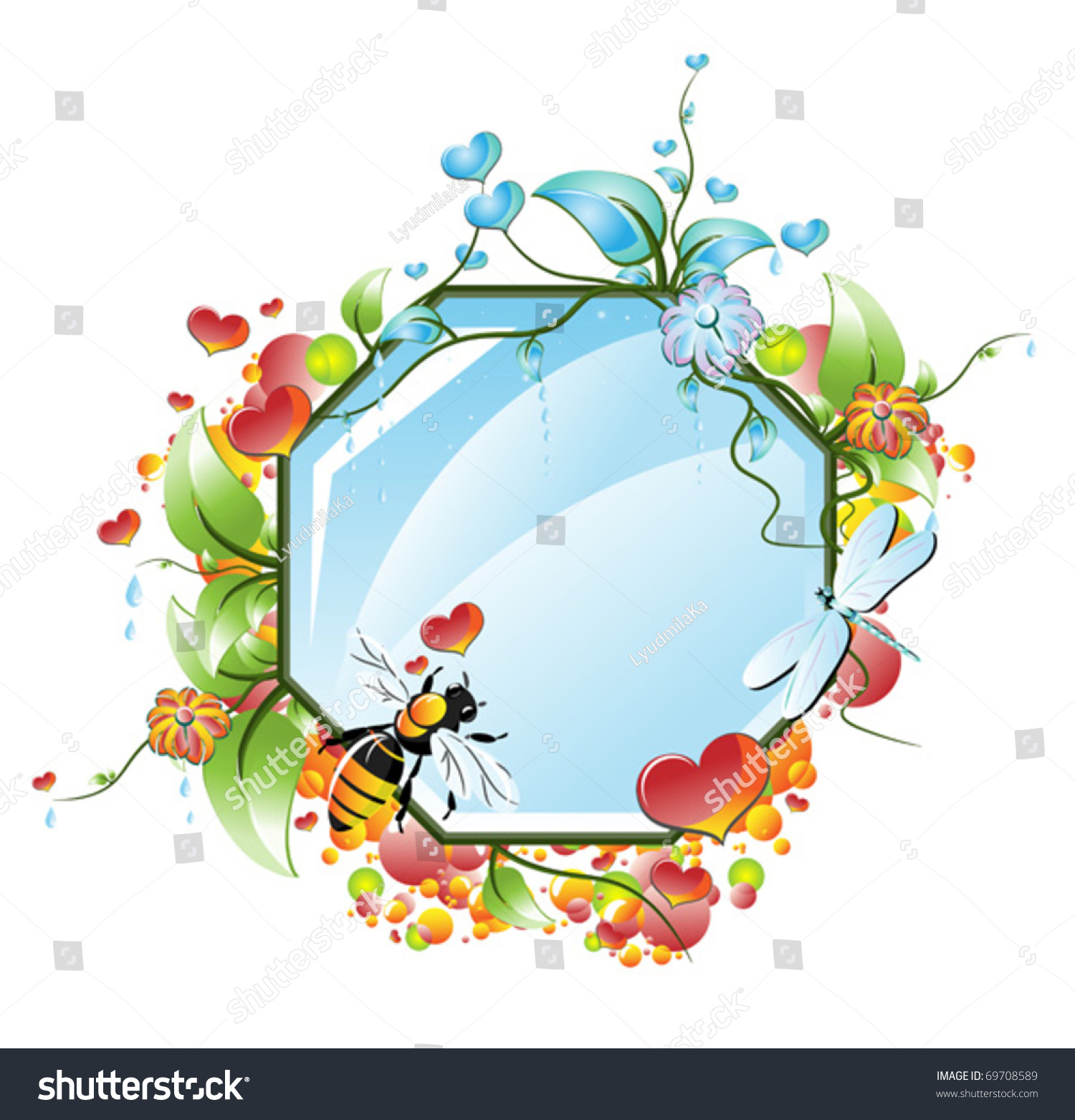 valentines day mirror framed pattern flowers stock vector 69708589