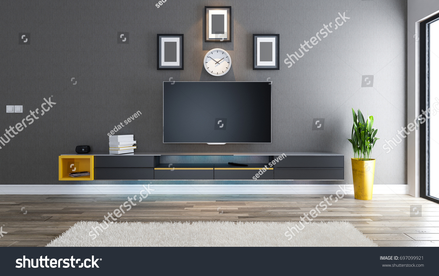 Tv Room Salon Or Living Room With Covered Wallpaper Wall Plant And Black Tv  Stand Design Part 51