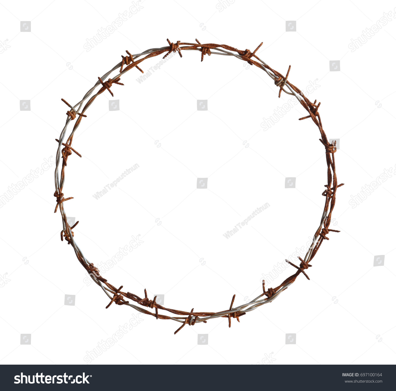 Barbed Wire Circle Isolated On White Stock Photo (100% Legal ...