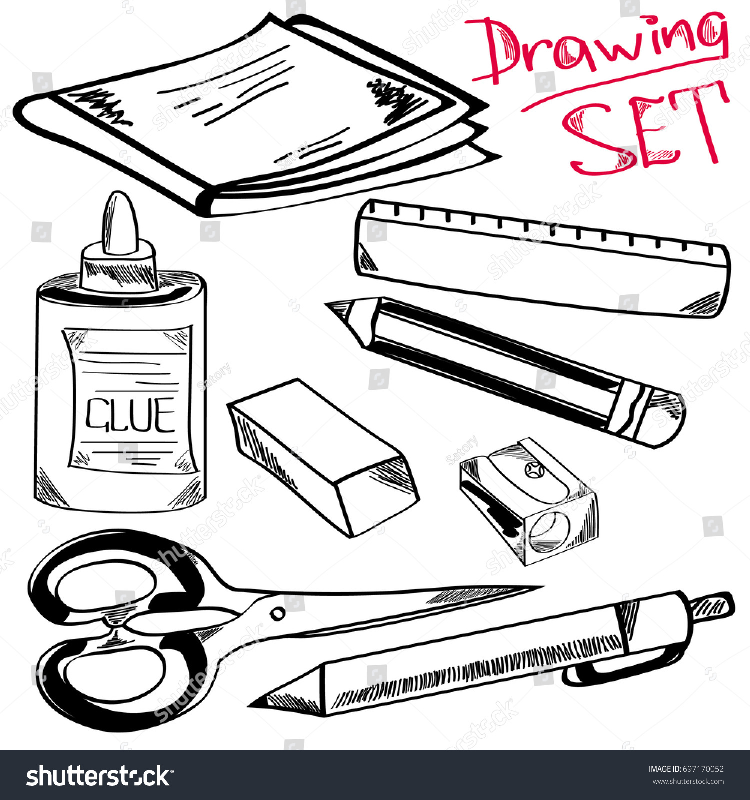 Drawing set sketching style of drawing elements notebook glue pen pencil