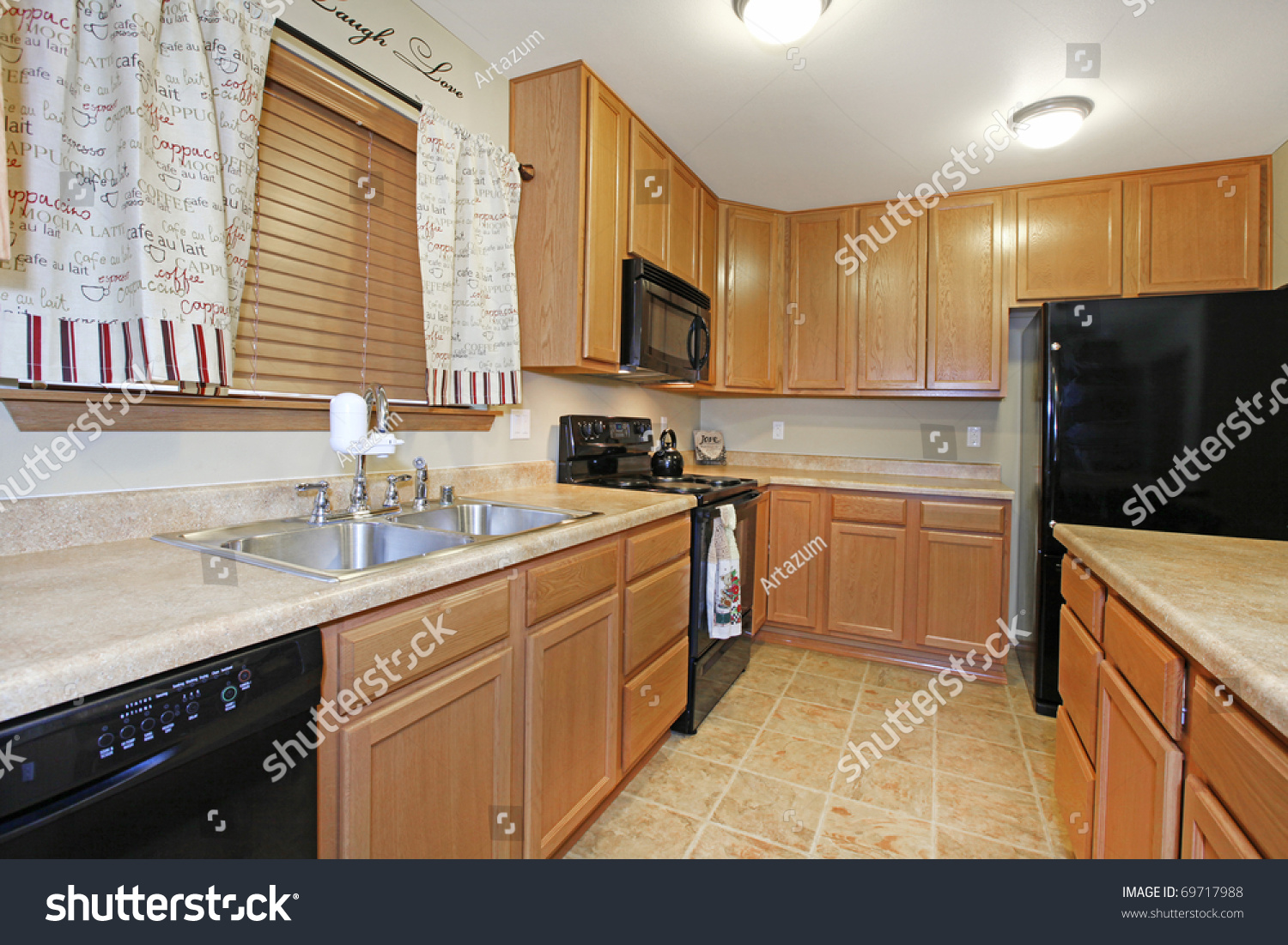 Light Wood Kitchen Light Wood Kitchen With Black Appliances Stock Photo 69717988