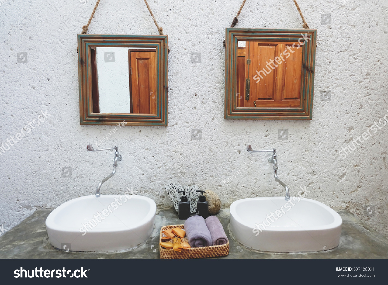 Couple White Lavatory Restroom Bathroom Loft Stock Photo (Edit Now ...