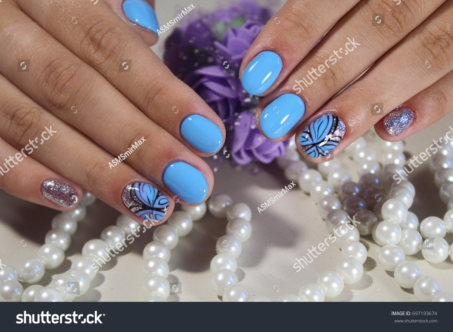Beautiful Nail Design Blue Nails Pattern Stock Photo (Download Now ...