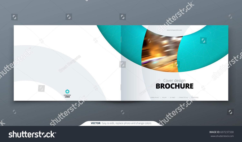 landscape brochure design teal corporate business のベクター画像