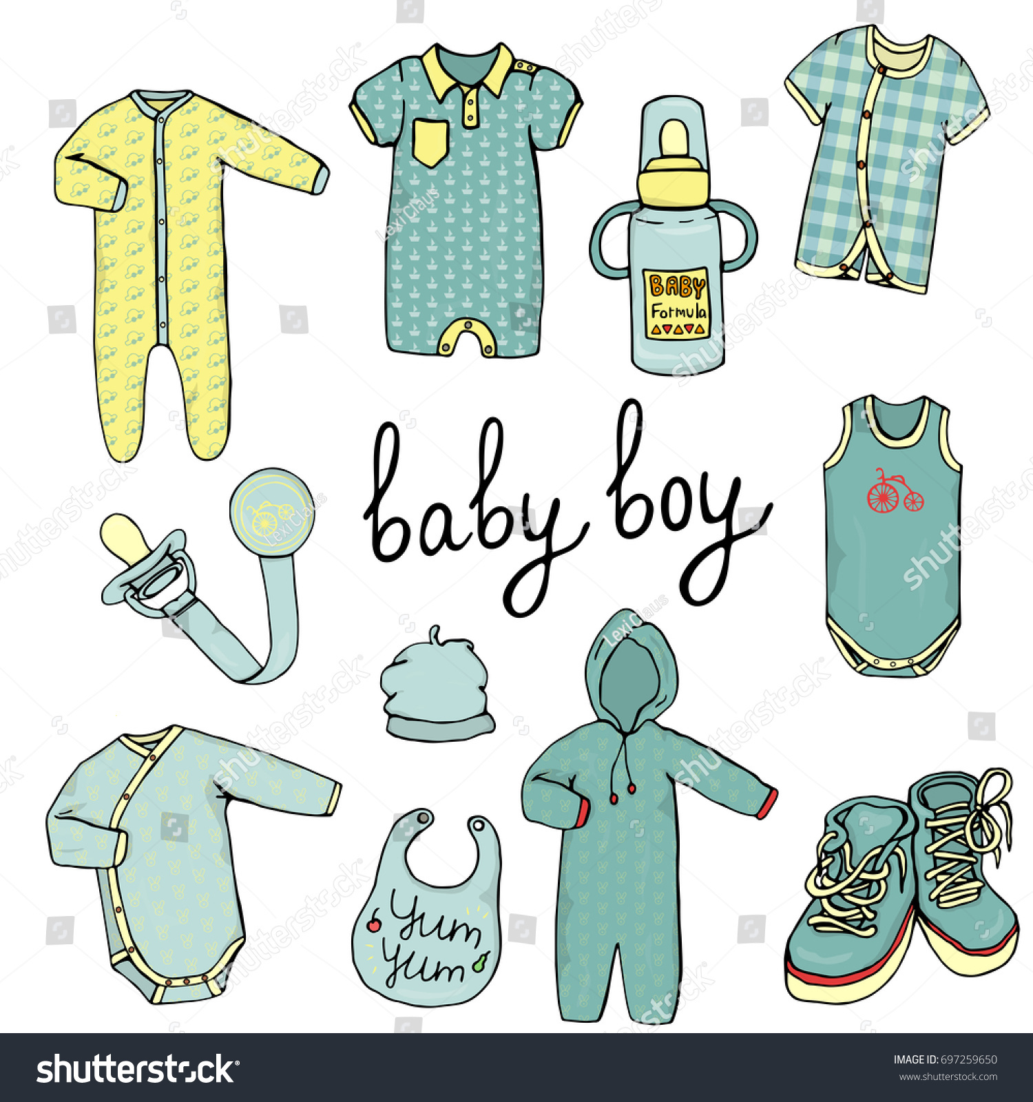 Vector Illustration Baby Clothes Baby Boy Stock Vector