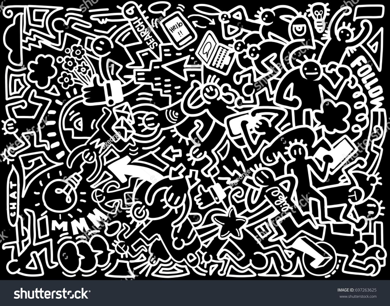 Line Art Media Design : Vector line art doodle cartoon set stock