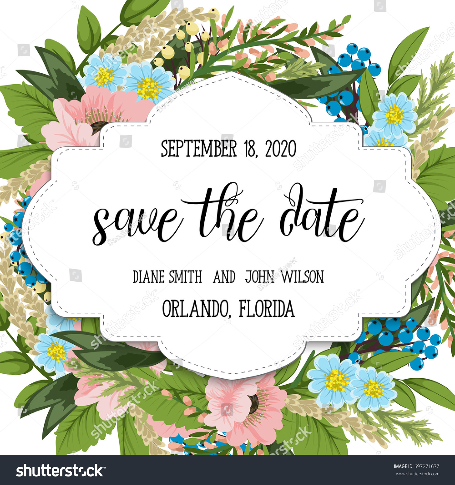 Wedding Invitation Card Suite With Flower TemplatesVector Illustration