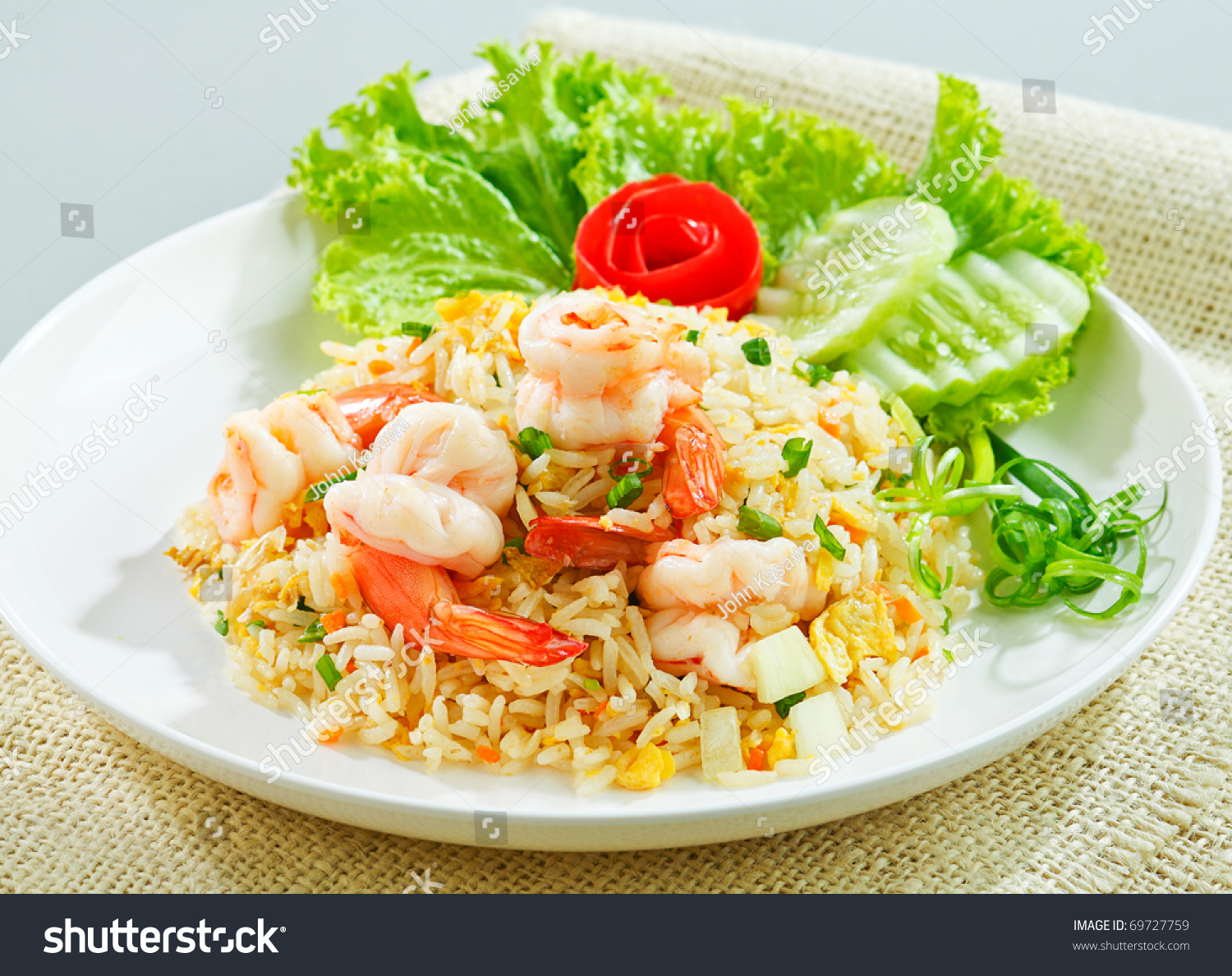 Unique style Thai shrimp fried rice serves on the dish the image ...