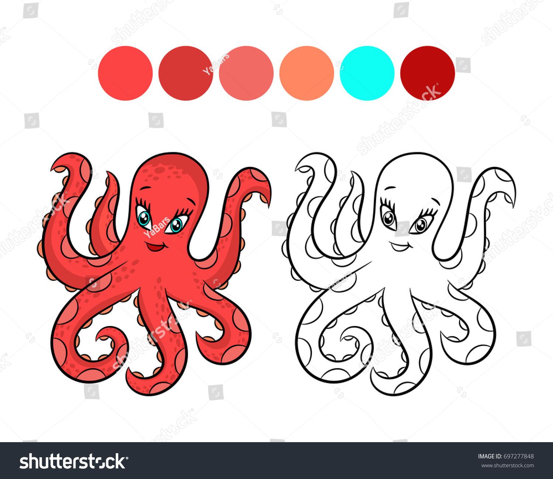 Octopus Coloring Book Design Kids Children Stock Illustration ...