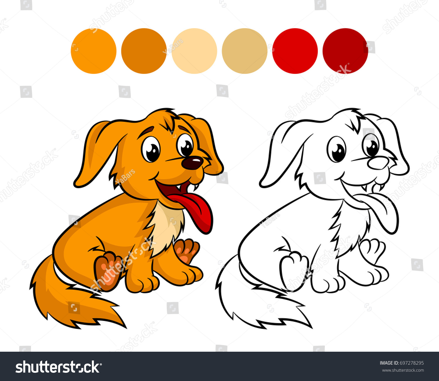 Dog Coloring Book Design For Kids And Children Illustration Isolated On White Background