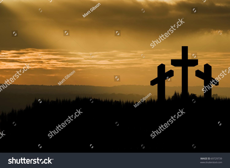 silhouette jesus christ crucifixion on cross stock photo 69729739
