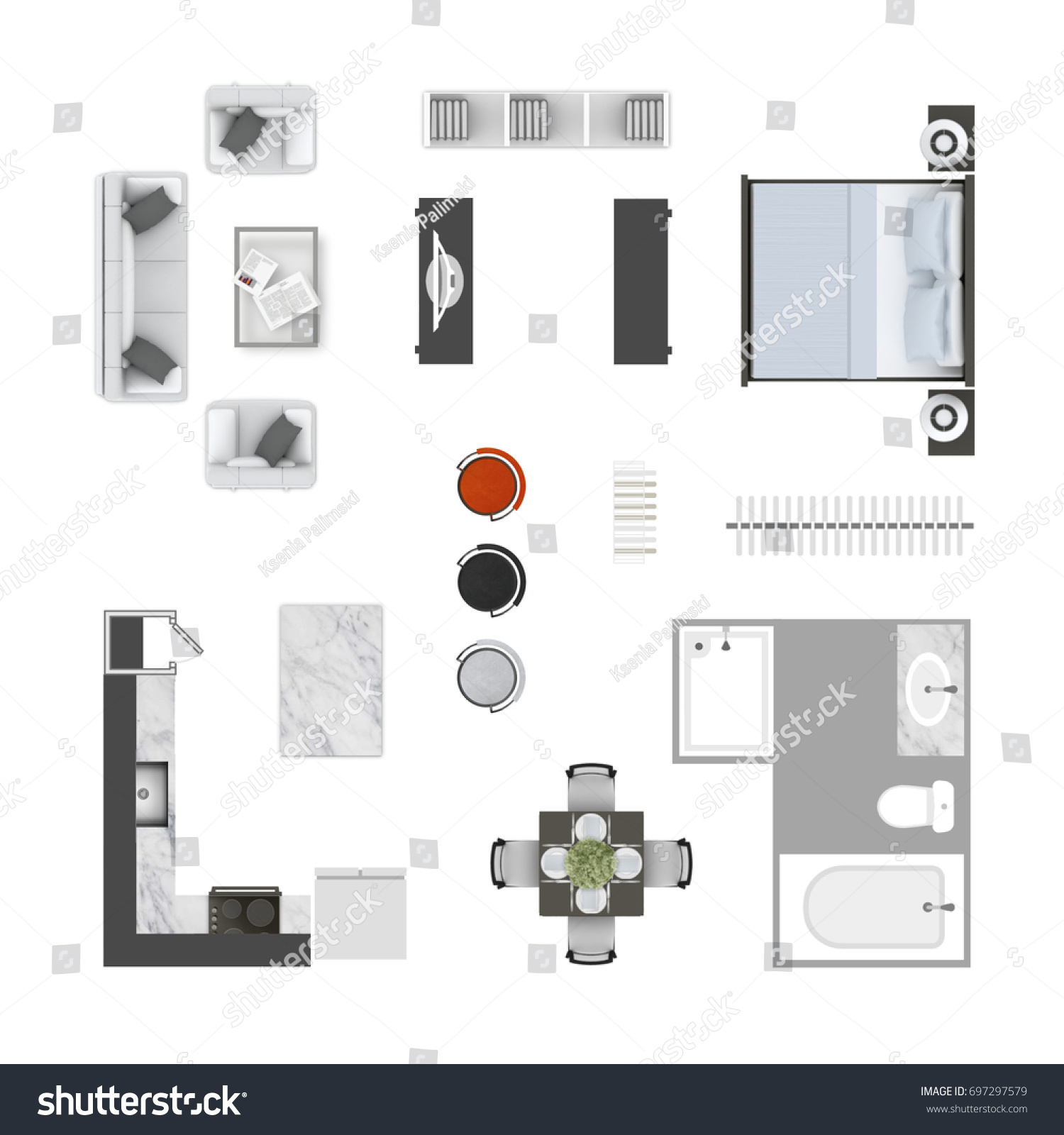 Furniture Top View Icons Collection Living Stockillustration ...