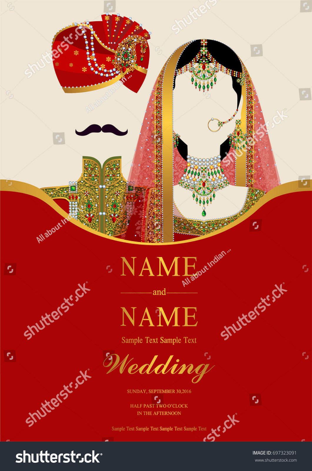 Wedding Invitation Card Templates Indian Man Stock