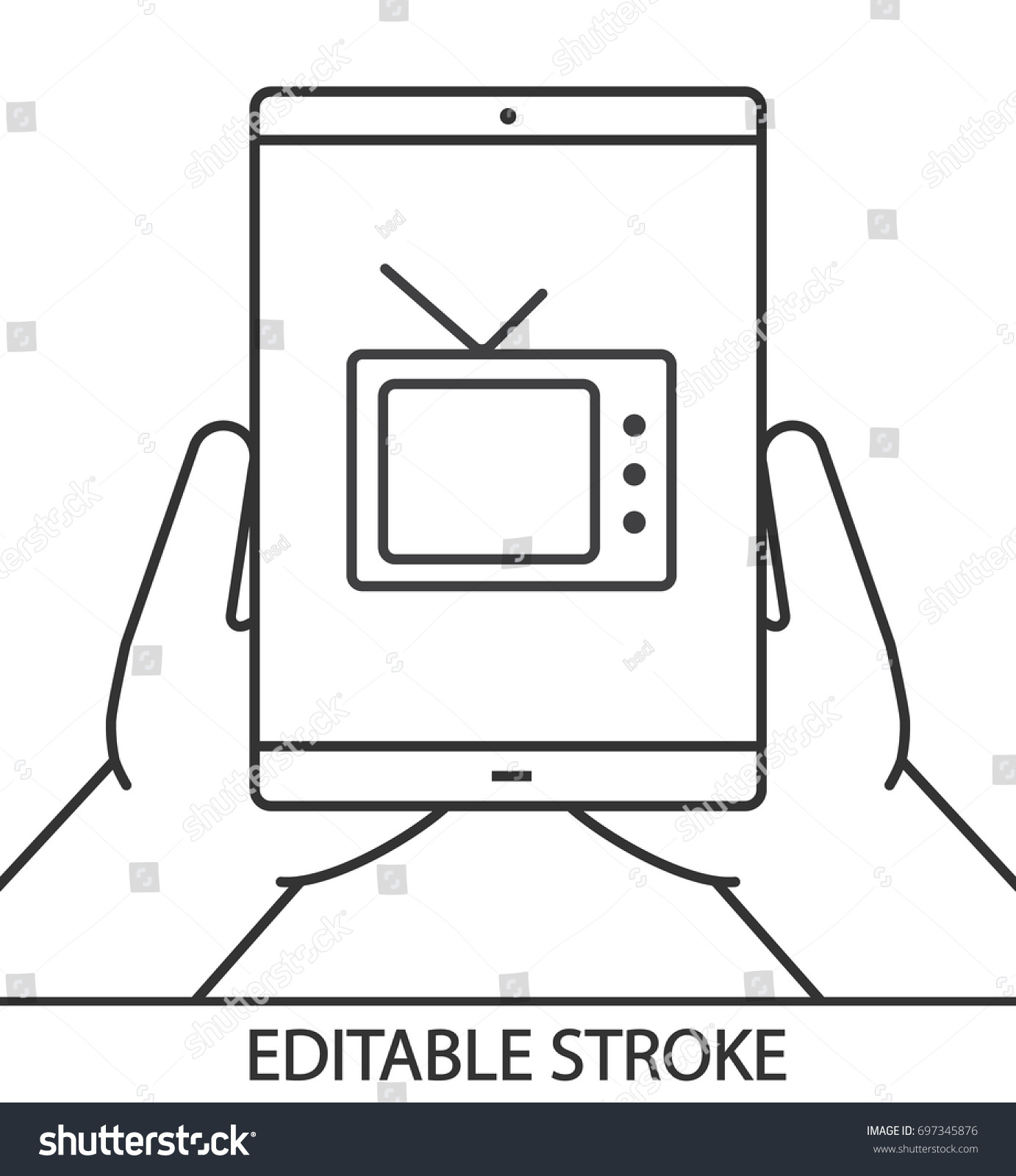 Hands Holding Tablet Computer Linear Icon Stock Vector Royalty Free