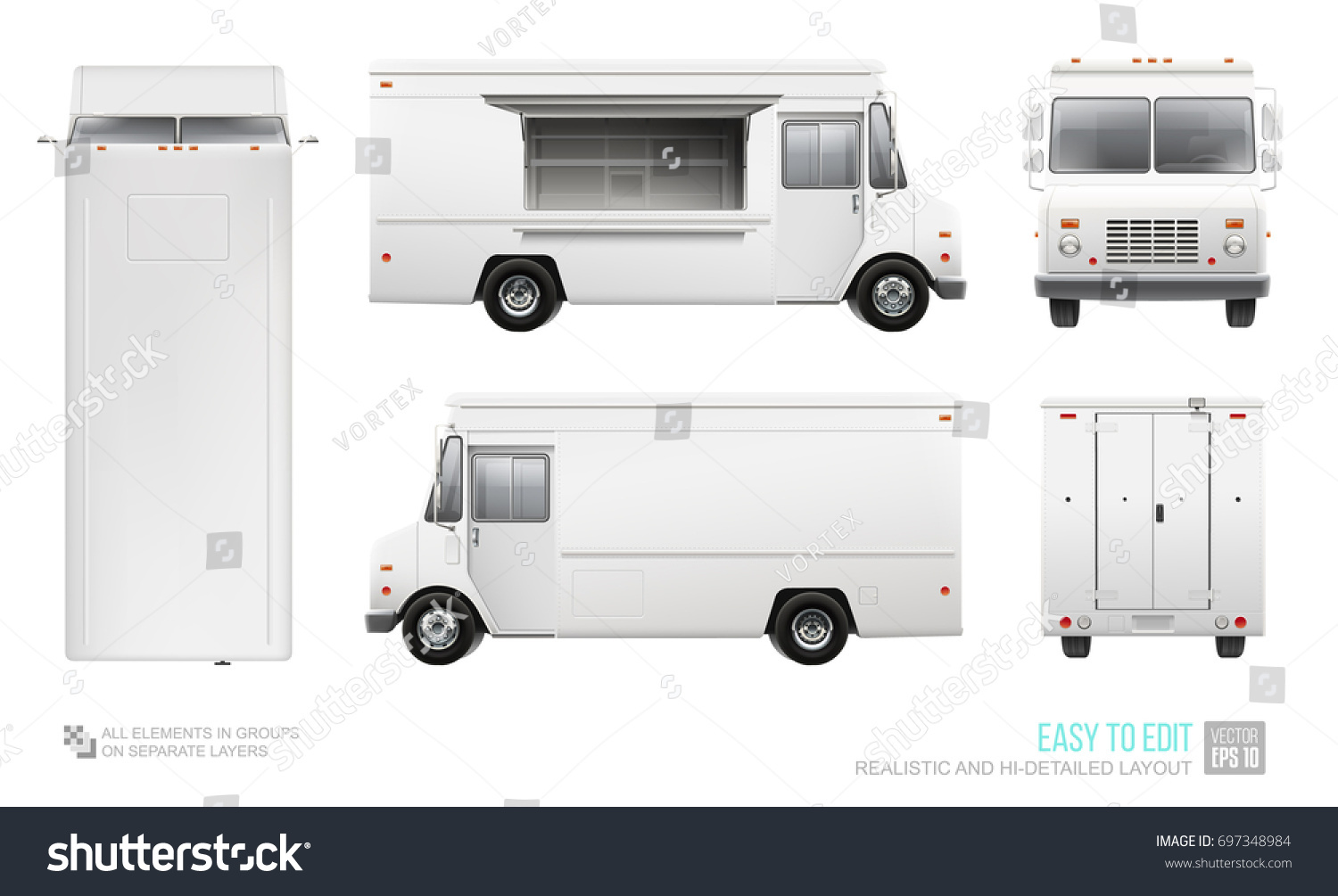 blank food truck hidetailed vector template stock vector royalty