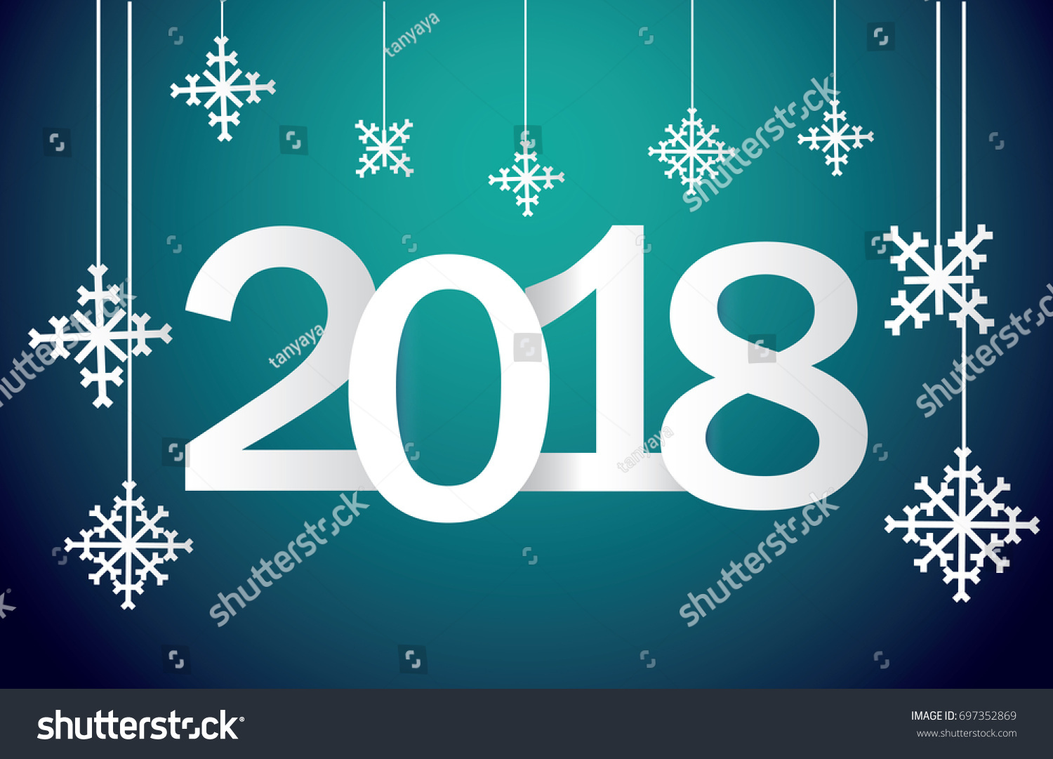 Festive New Years Greetings 2018 Snowflakes Stock Vector Royalty