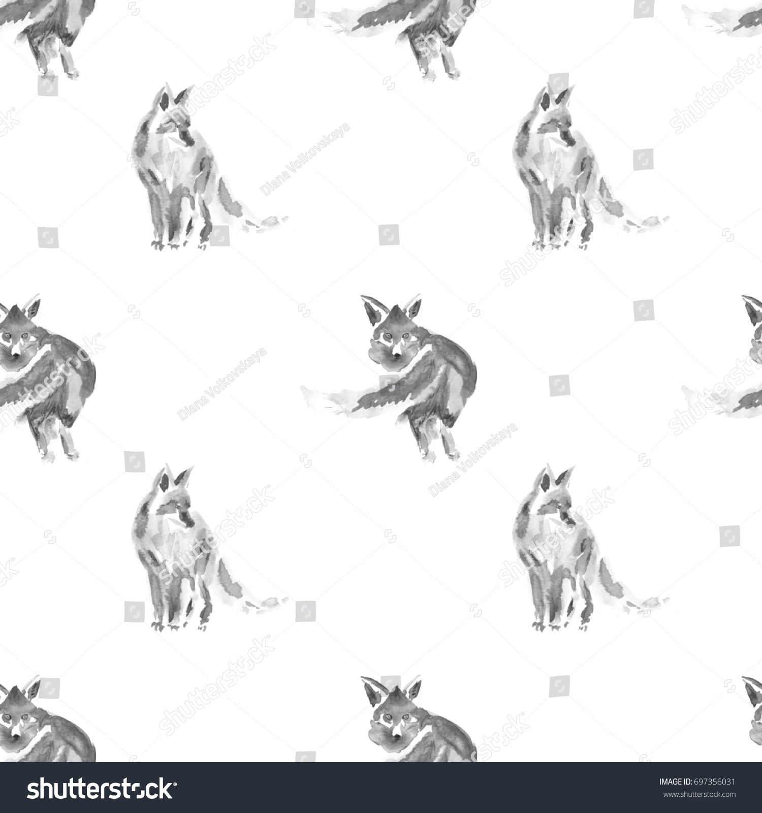 seamless watercolor black and white foxes watercolor animal painting kids background hand drawn - Animal Painting For Kids