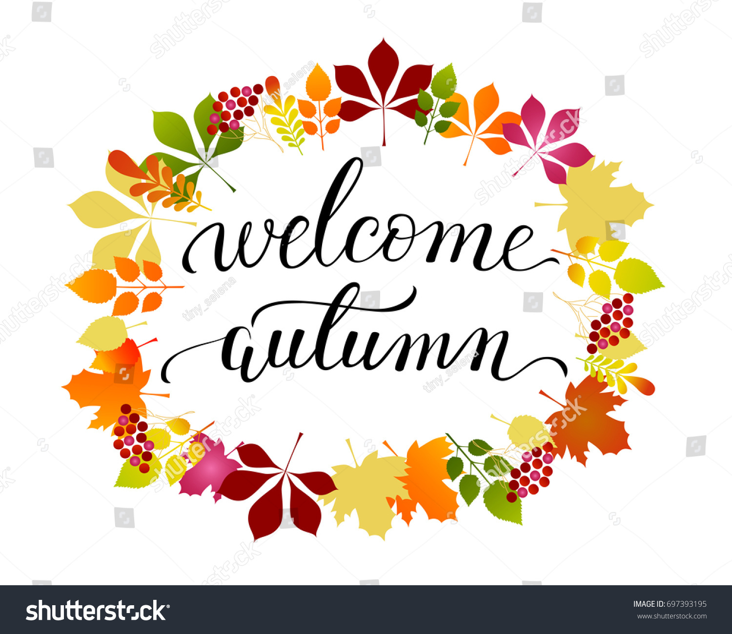 Vector Lifestyle Lettering Welcome Autumn On Stock Vector