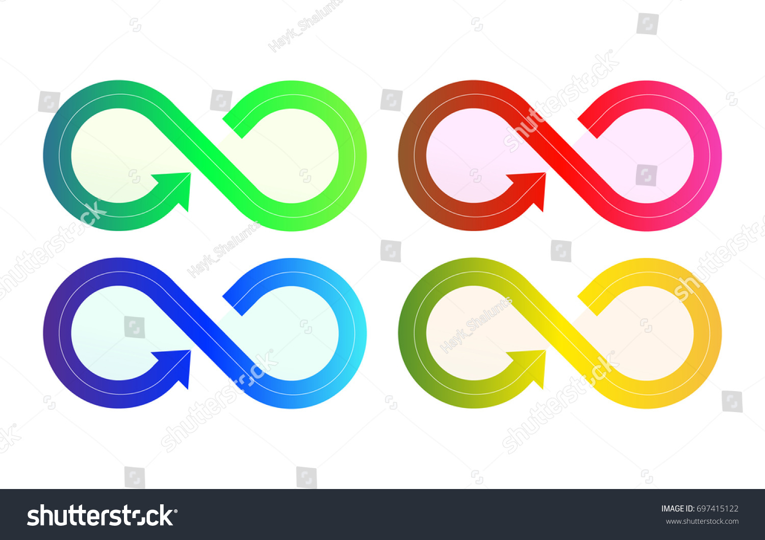 Infinity Sign Symbols Arrows Different Variations Stock Vector