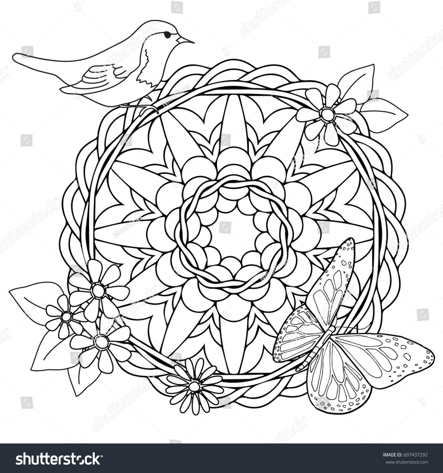 color coloring page kids adults mandala stock vector 697437292