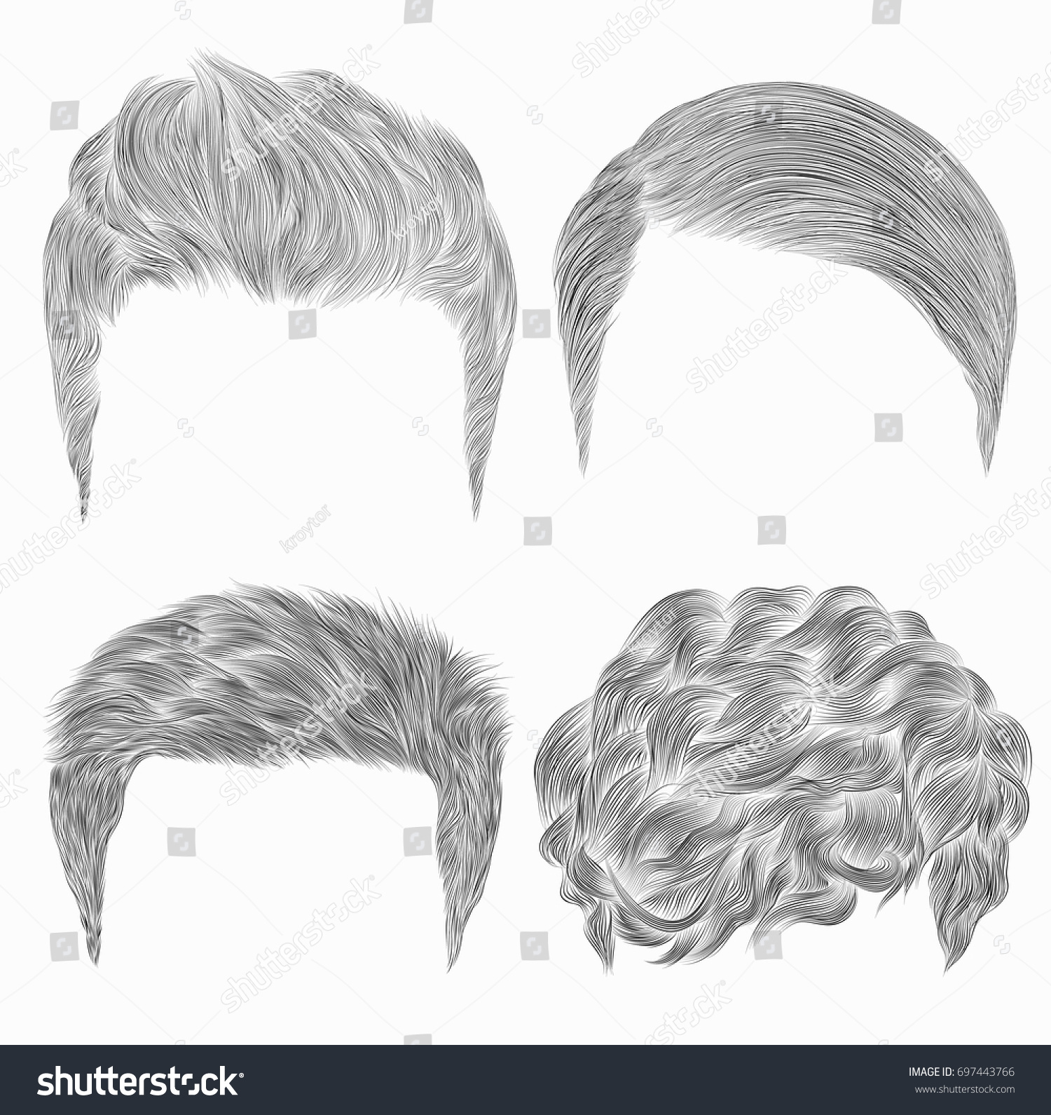 set different trendy mens hairstyles sketches stock vector (royalty