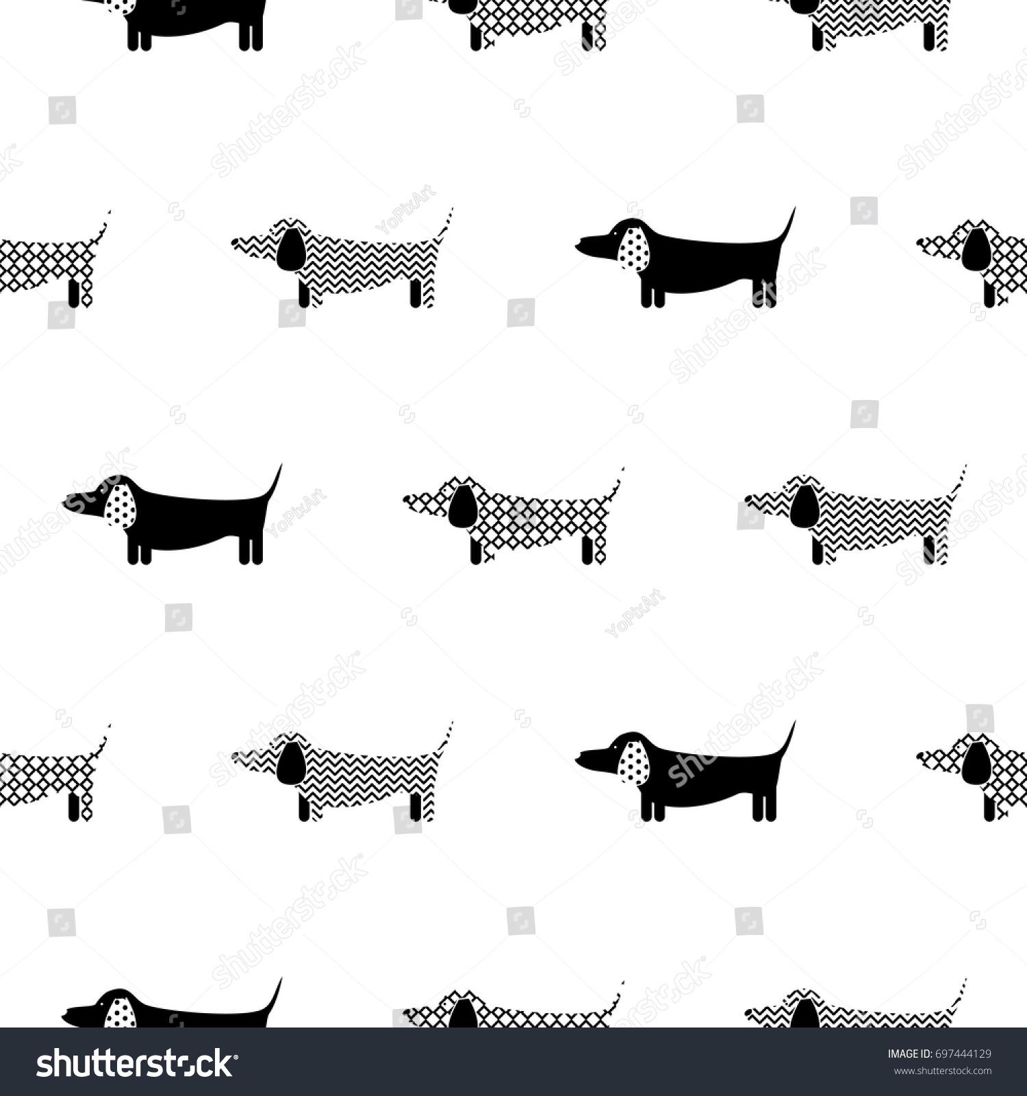 ドイツの狸のシルエットシームレスなベクター画像モノクロパターン