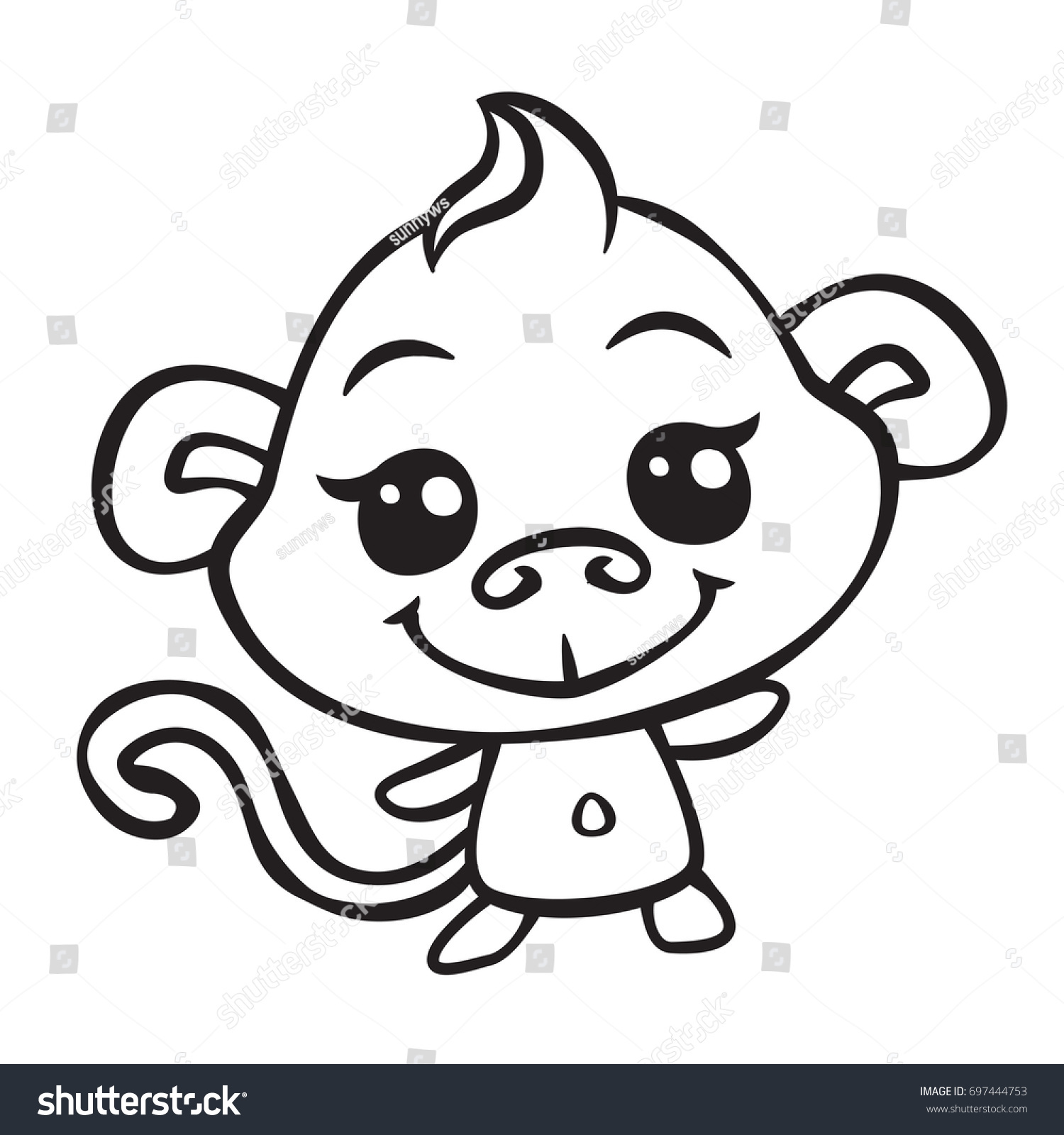 vector cute monkey coloring page illustration | EZ Canvas