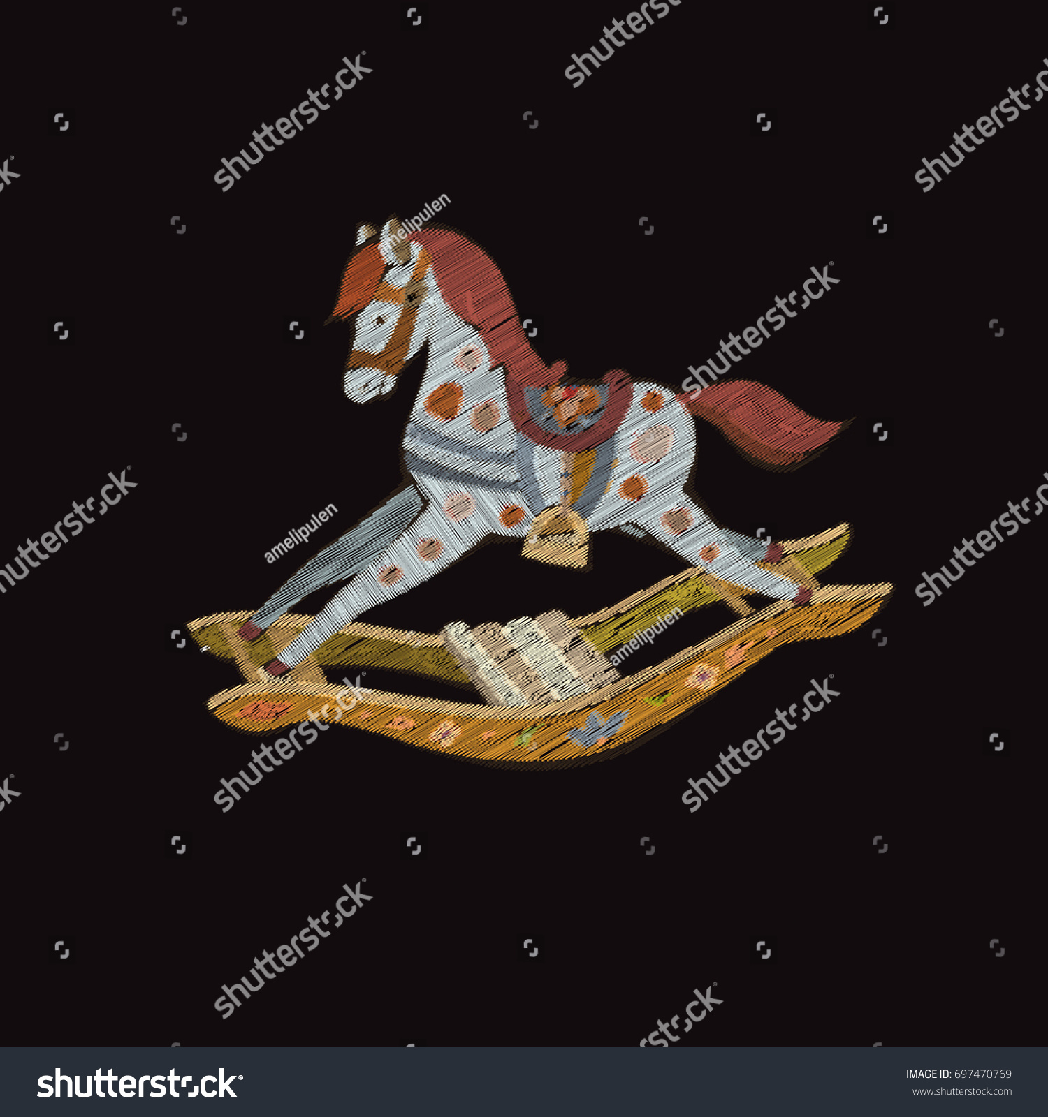 Embroidered Toys Horse Rocking Chair Colorful Stock Vector
