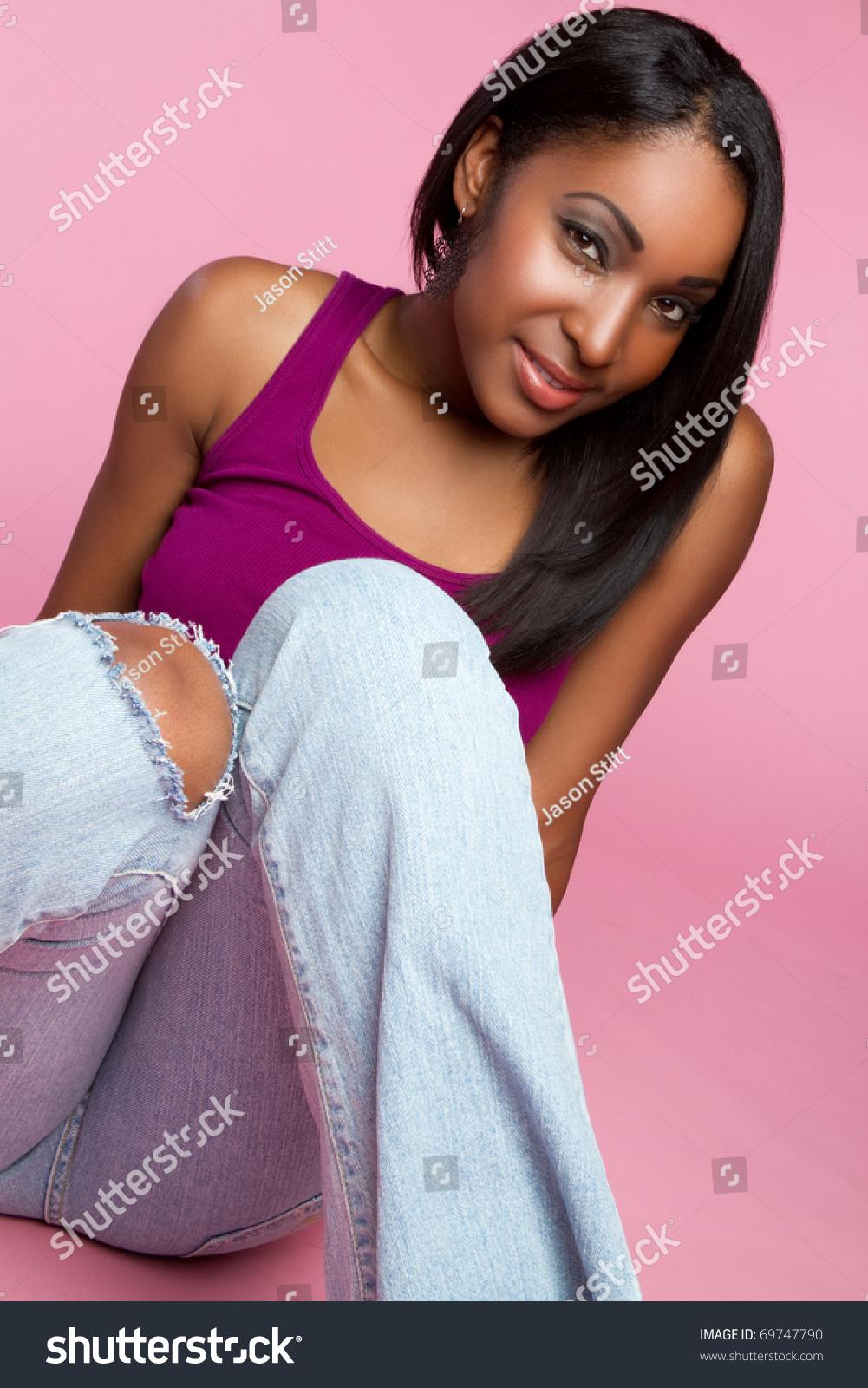 Beautiful Smiling Black Teen Girl Stock Photo 69747790
