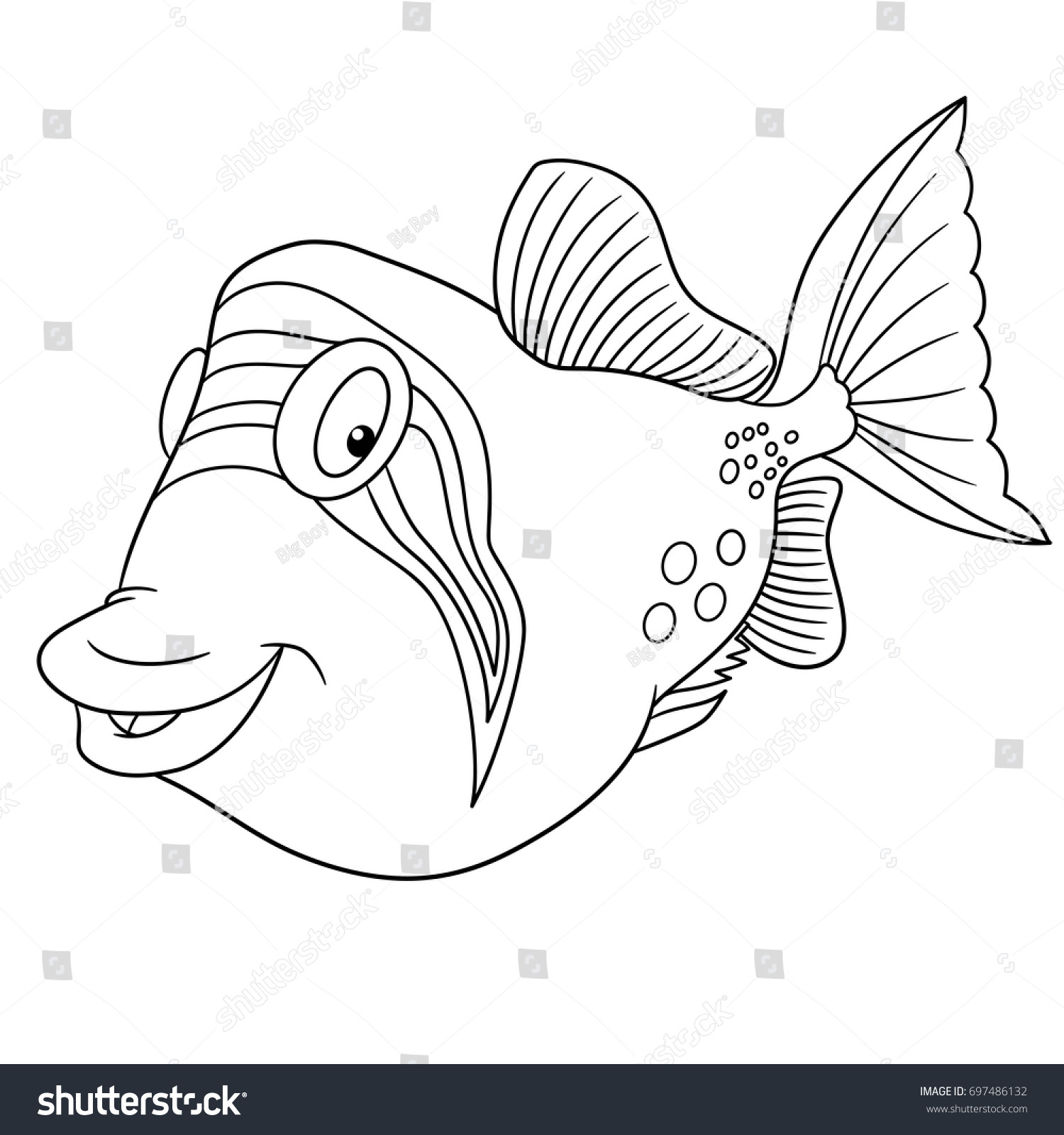 Coloring Page Cartoon Triggerfish Trigger Fish Stock Vector (Royalty ...