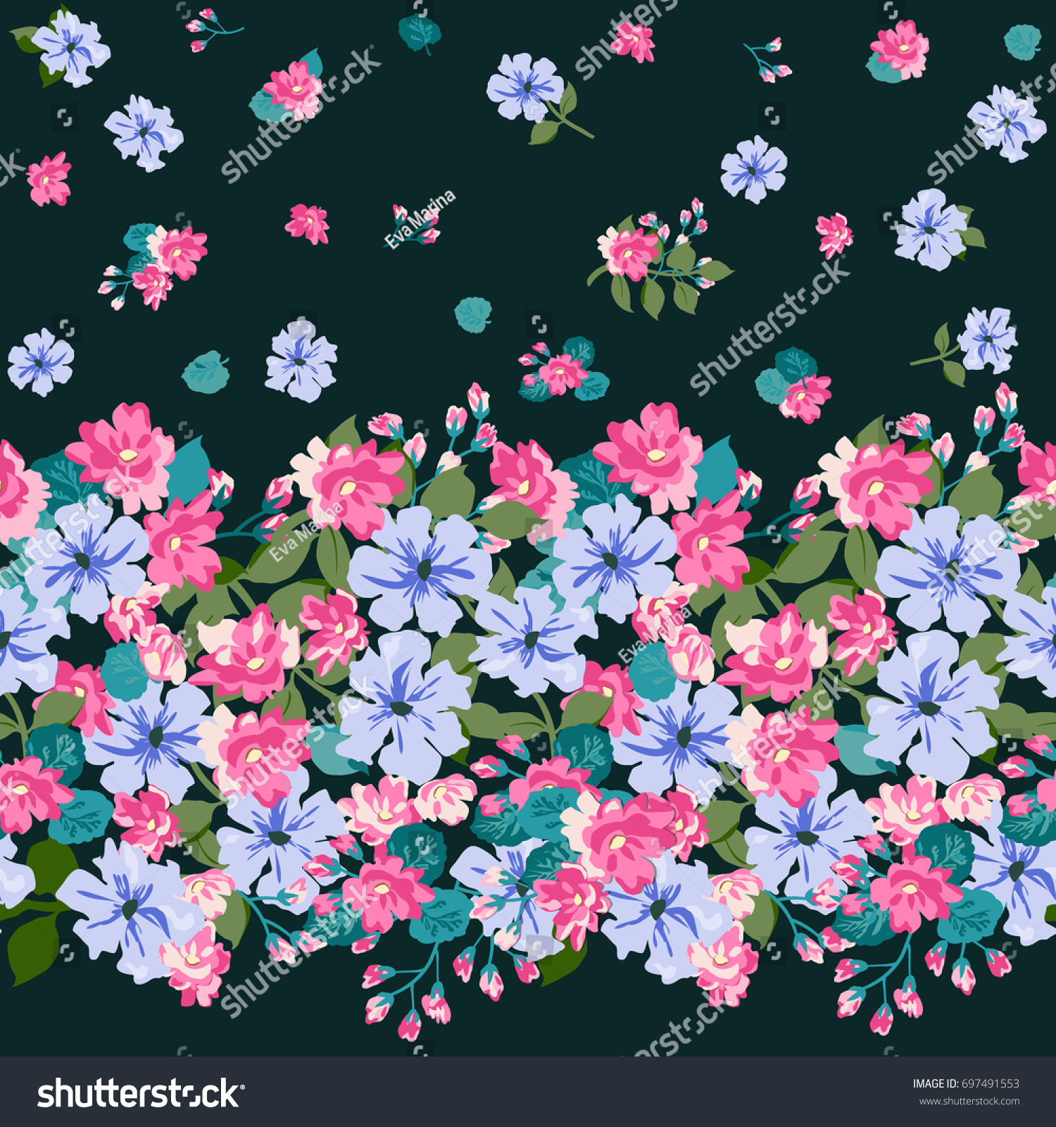 Floral Border Country Style Bouquet Rustic Stock Vector Royalty