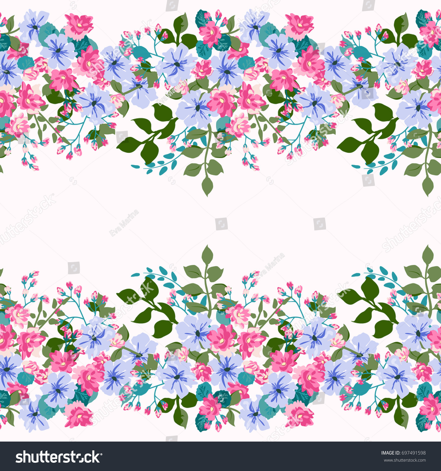 Floral Border Country Style Bouquet Rustic Royalty Free Stock Image