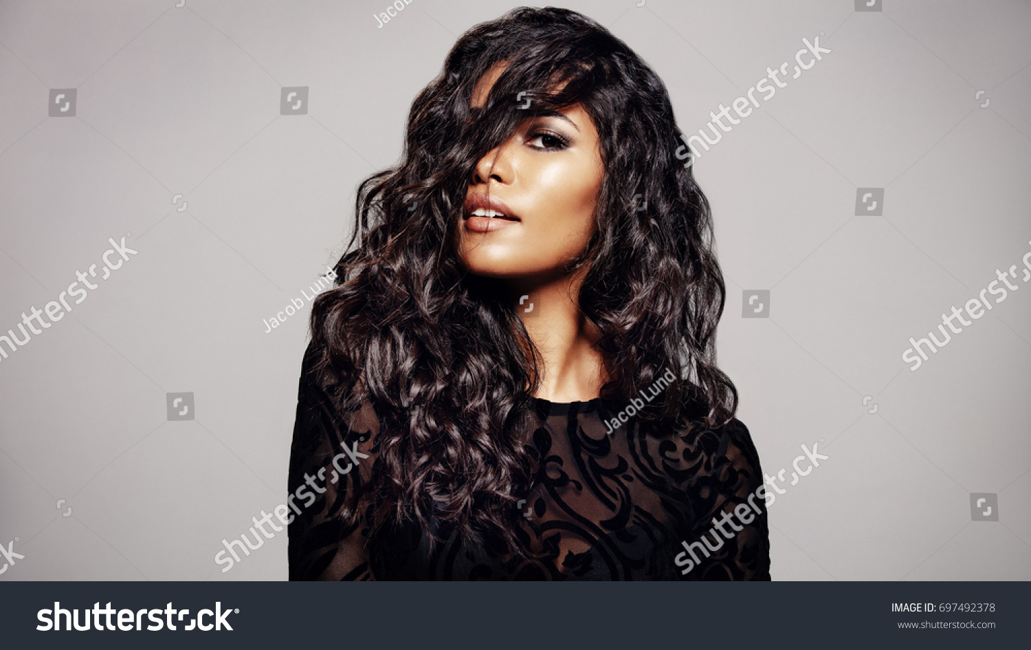 Beautiful Brunette Woman Long Curly Hair Stock Photo Edit Now