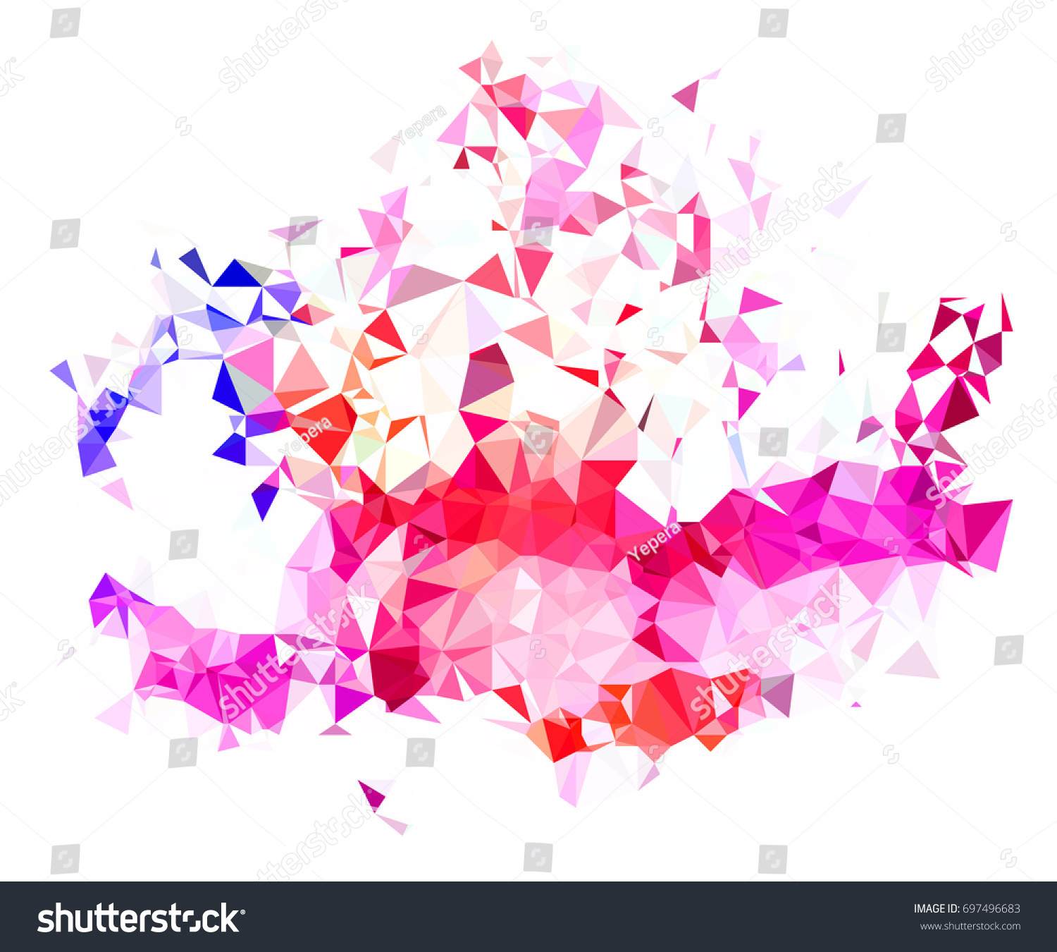 abstract color splash shape triangulated geometric stock vector
