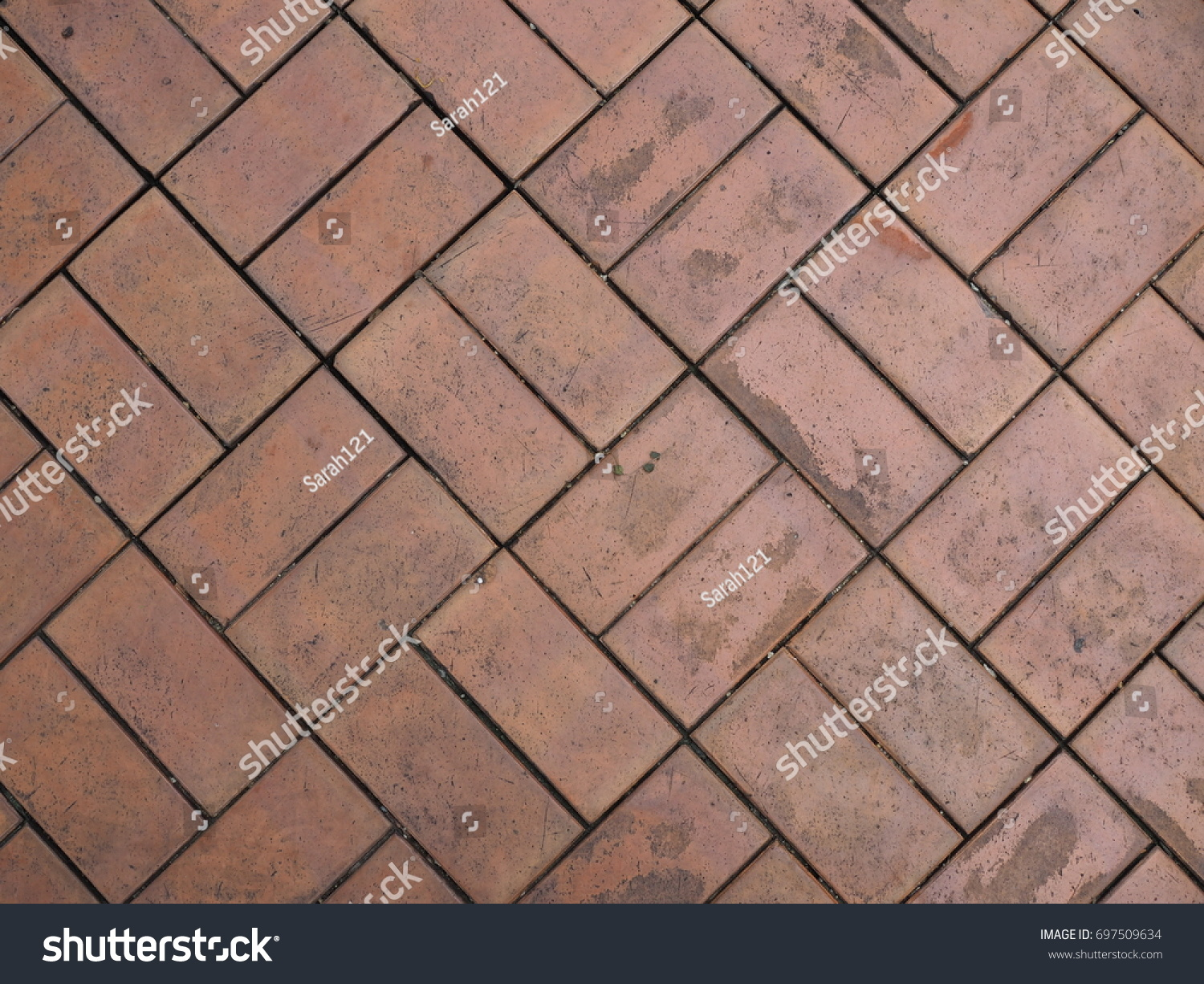 Old dirty red brown rectangle shape stock photo 697509634 old dirty red brown rectangle shape clay brick tile floor pattern with black stains dailygadgetfo Gallery
