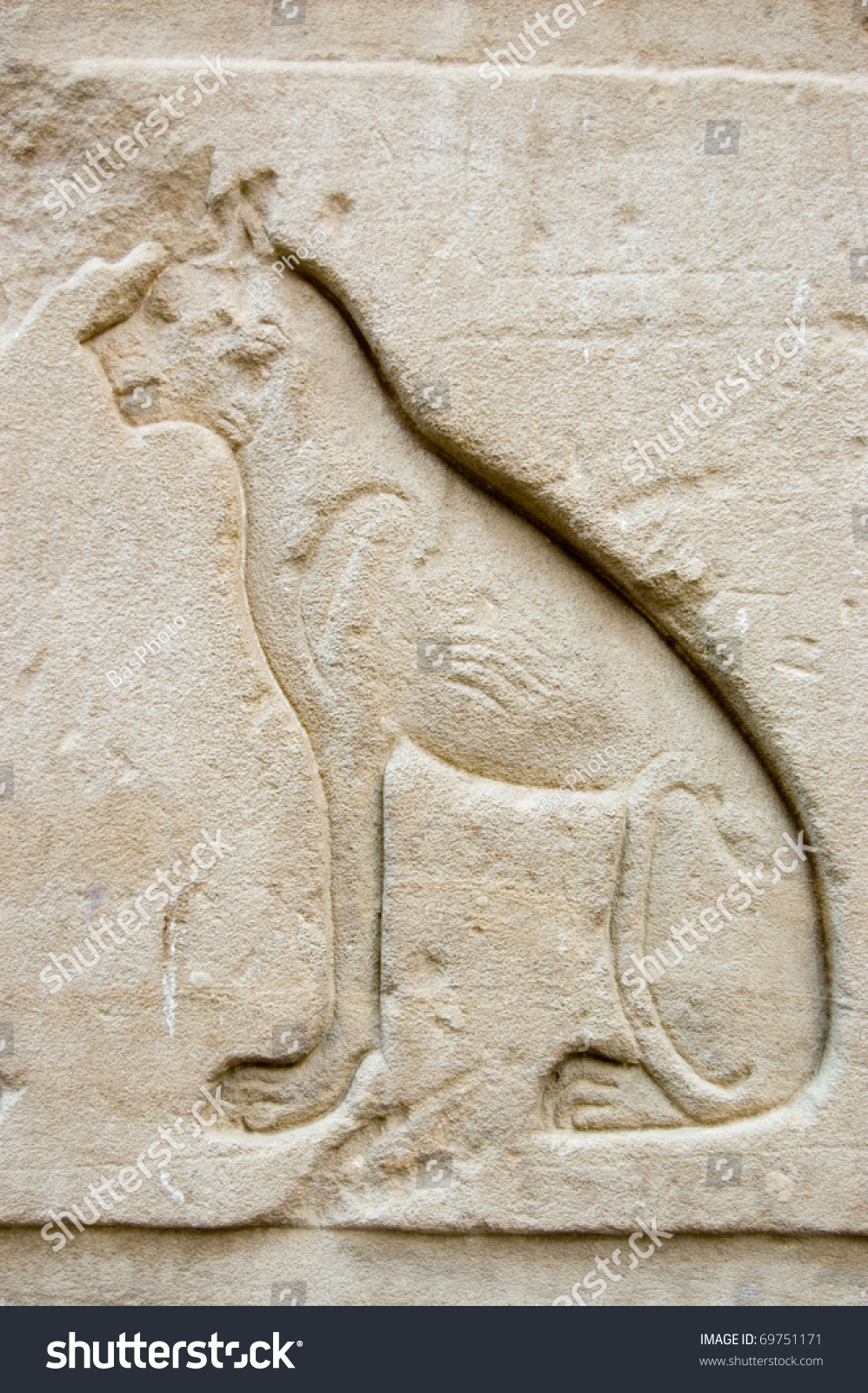 Ancient egyptian carving of the cat sometimes known as