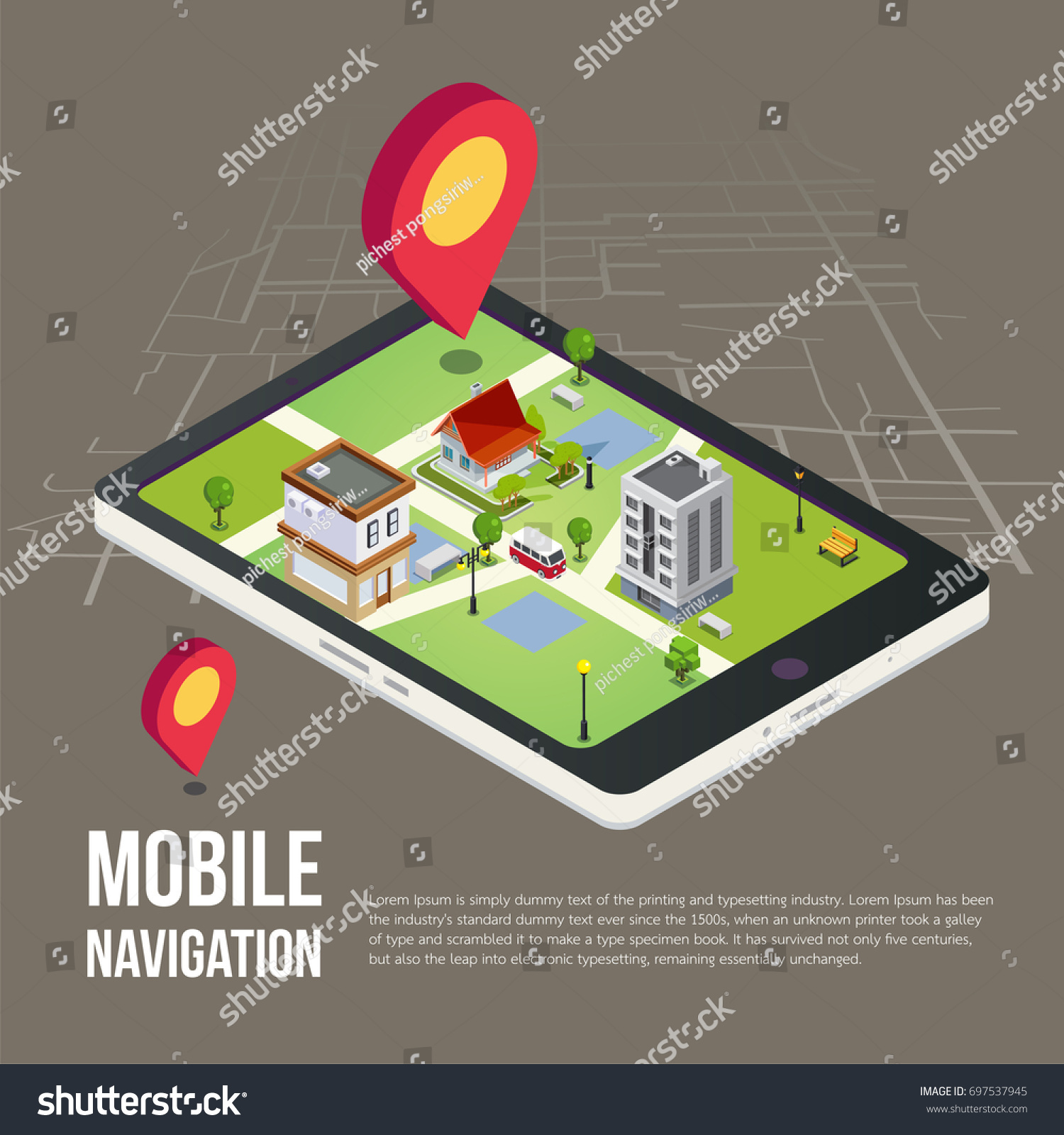 Flat 3d Isometric Mobile Gps Navigation Stock Vector