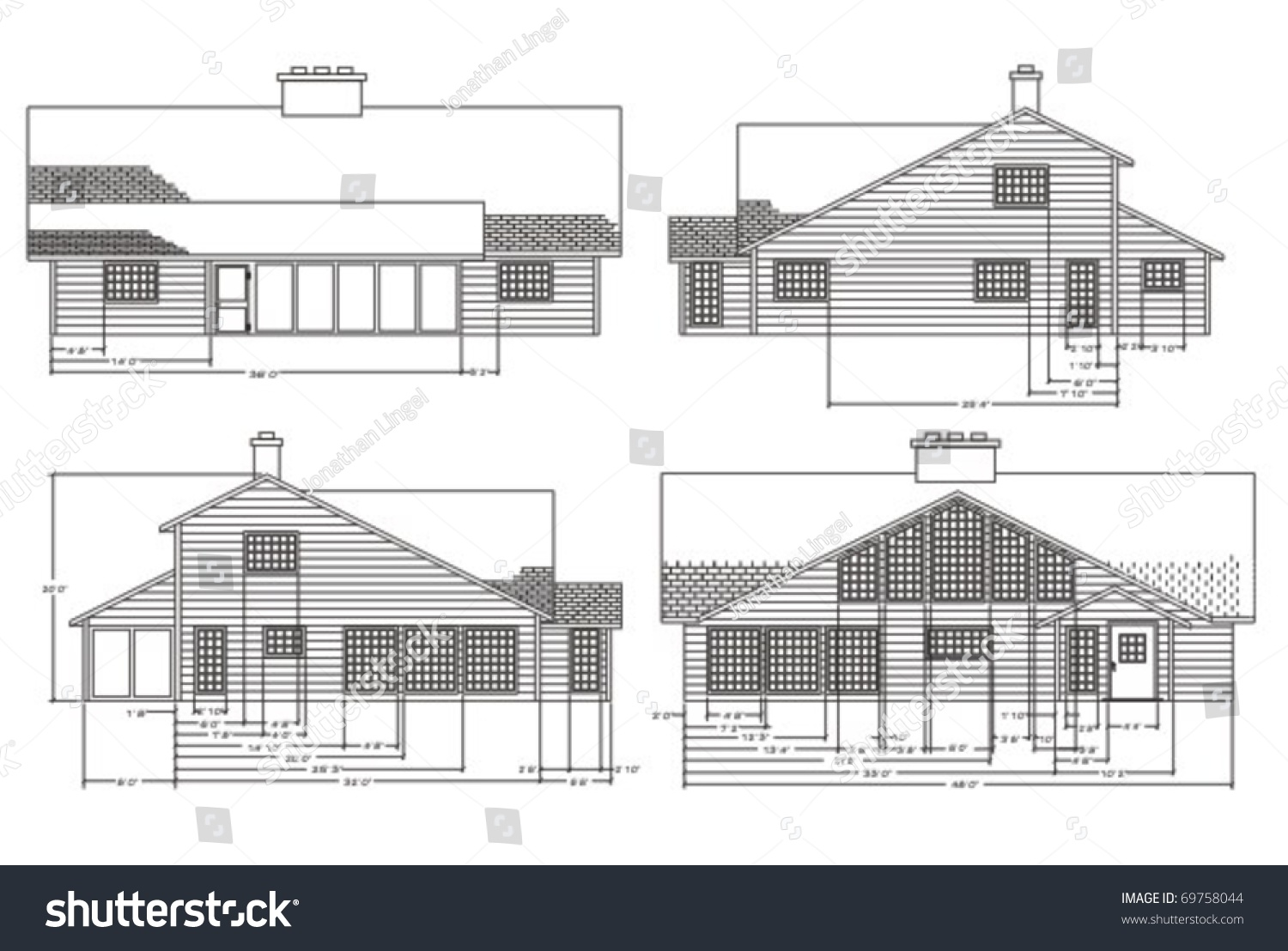 Elevation Plan View : Elevation view home construction plans stock vector